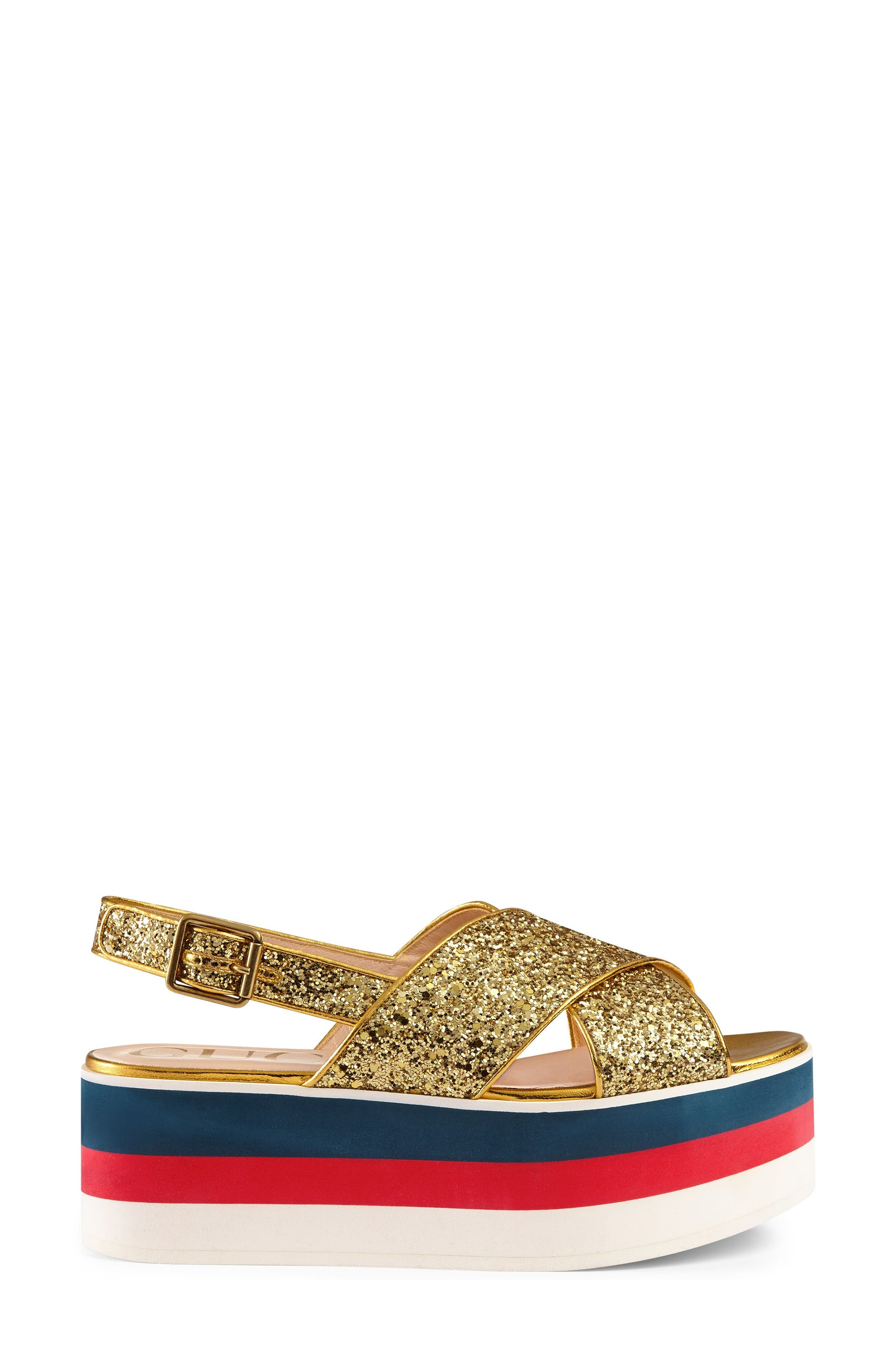 Alternate Image 1 Selected - Gucci Glitter Flatform Sandal (Women)