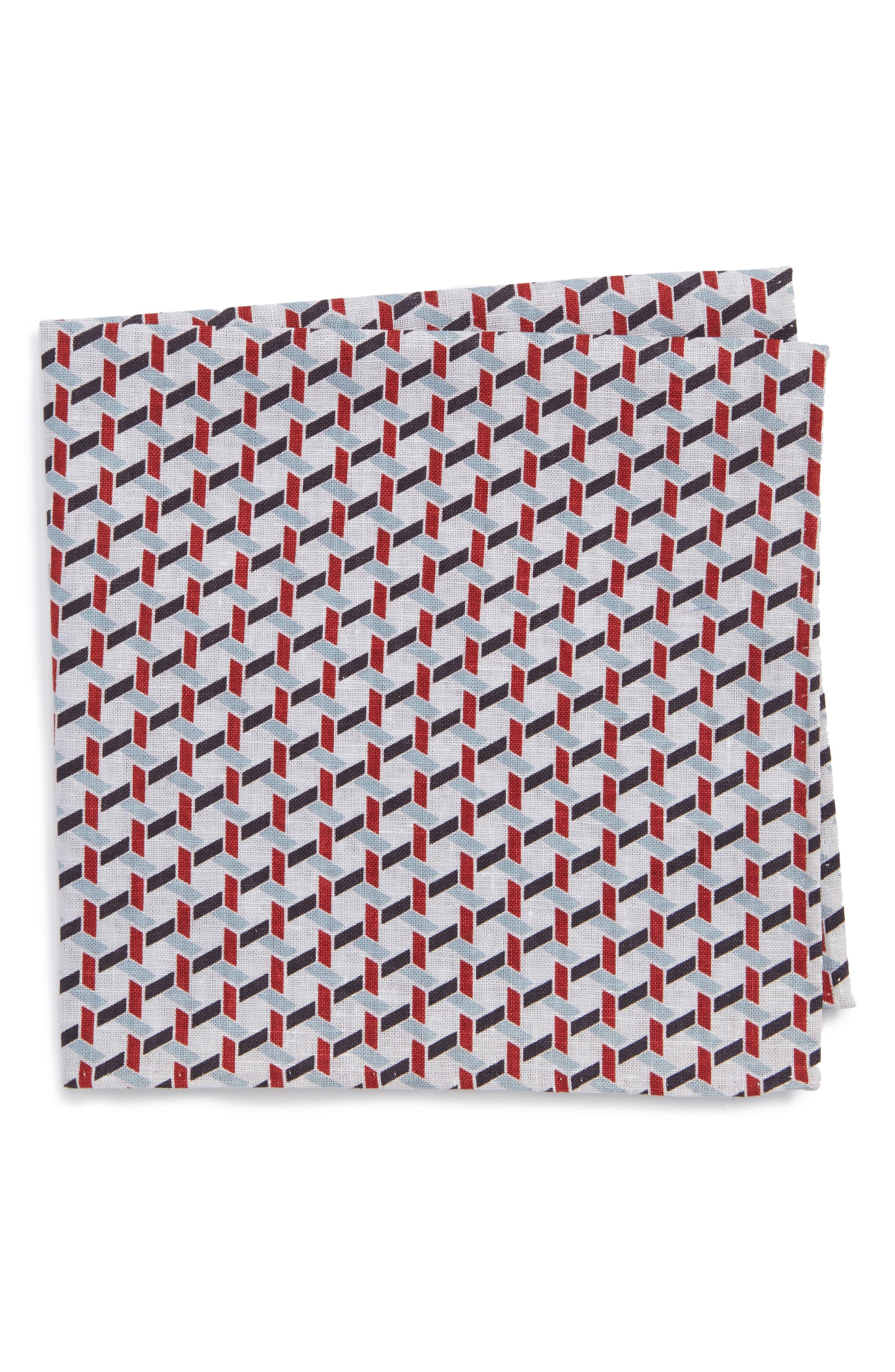 Gallo Geometric Pocket Square,                         Main,                         color, Burgundy