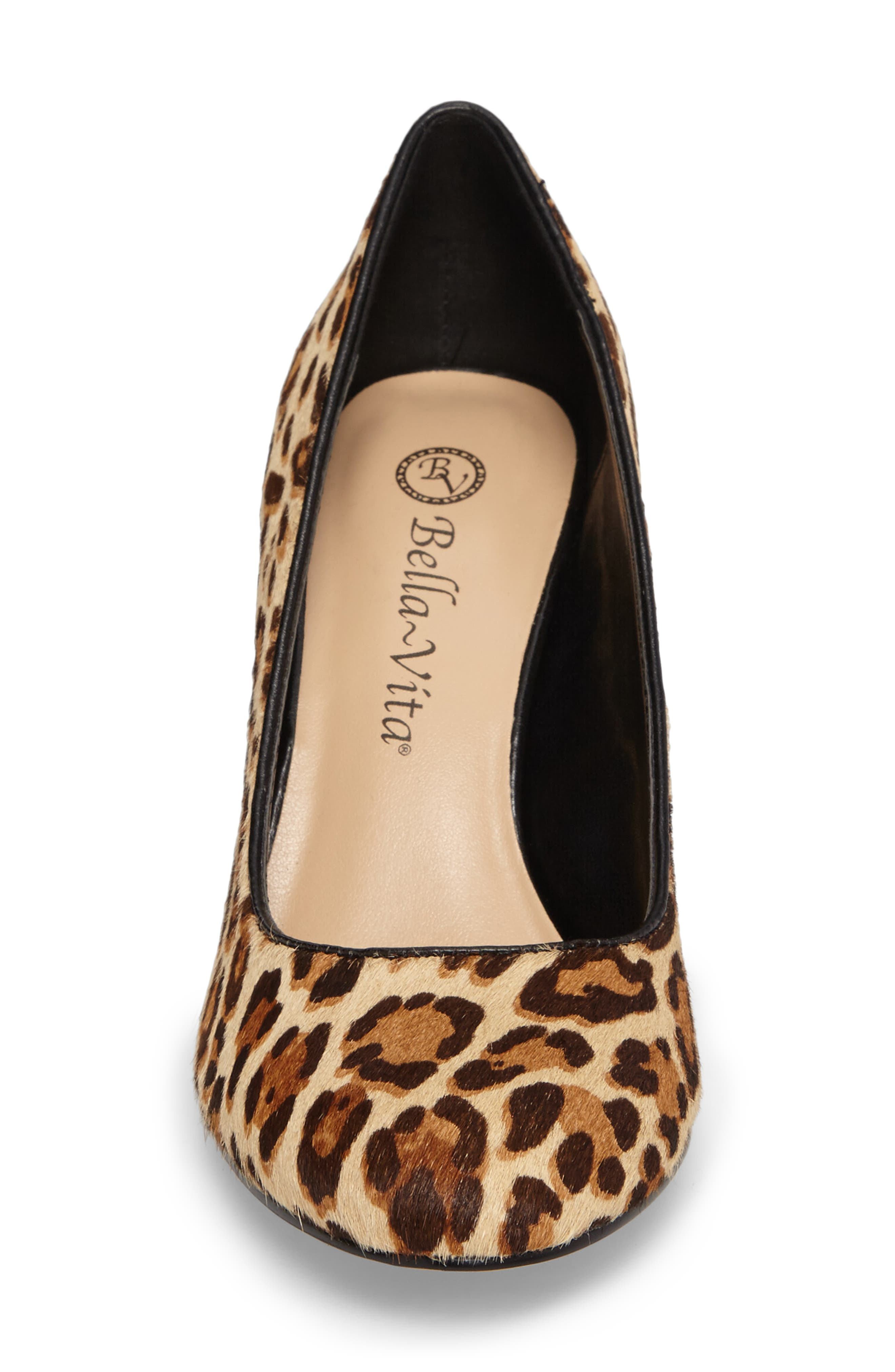 'Nara' Block Heel Pump,                             Alternate thumbnail 4, color,                             Leopard Pony Calf Hair