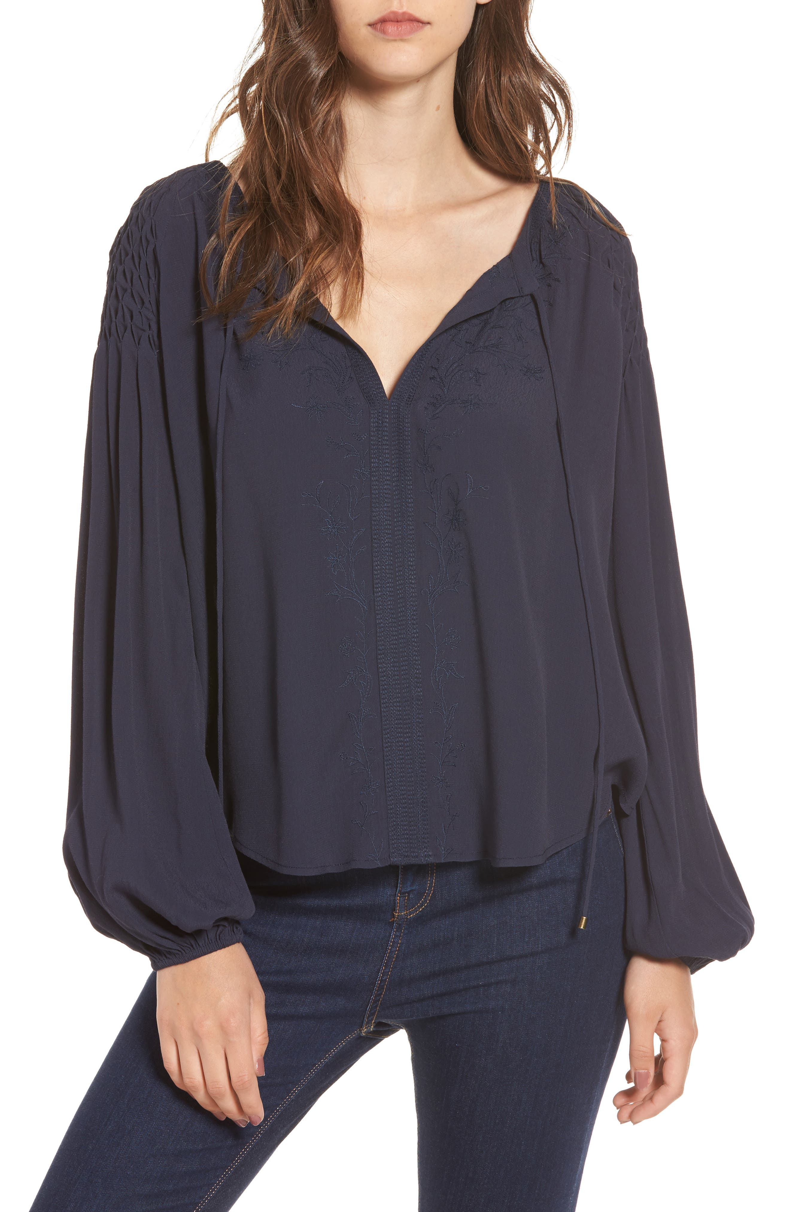 Claudine Blouse,                         Main,                         color, Navy