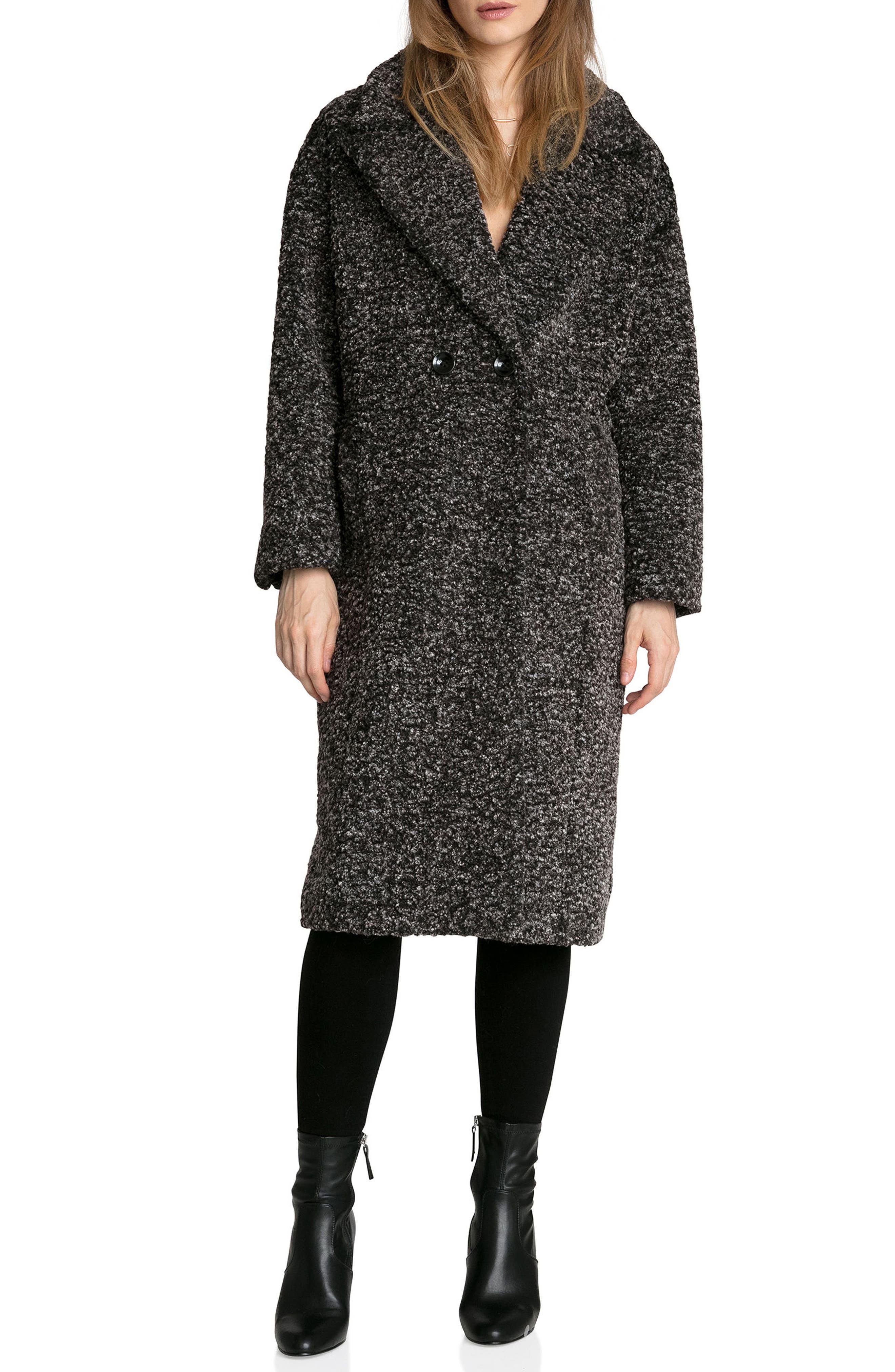Fleece Bouclé Cocoon Coat,                             Main thumbnail 1, color,                             Black/ White Melange