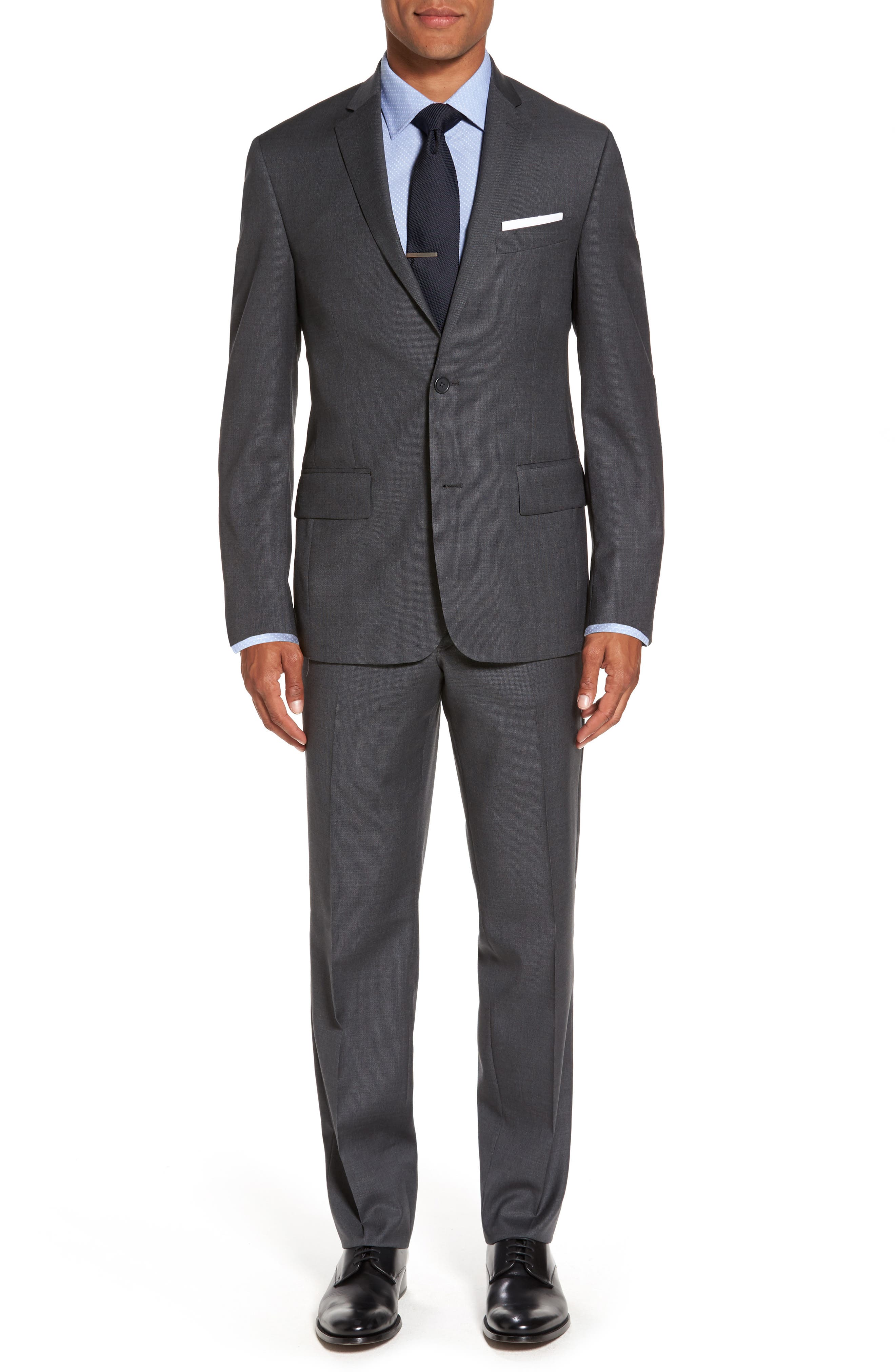 Flat Front Solid Wool Suit Trousers,                             Alternate thumbnail 6, color,                             Charcoal