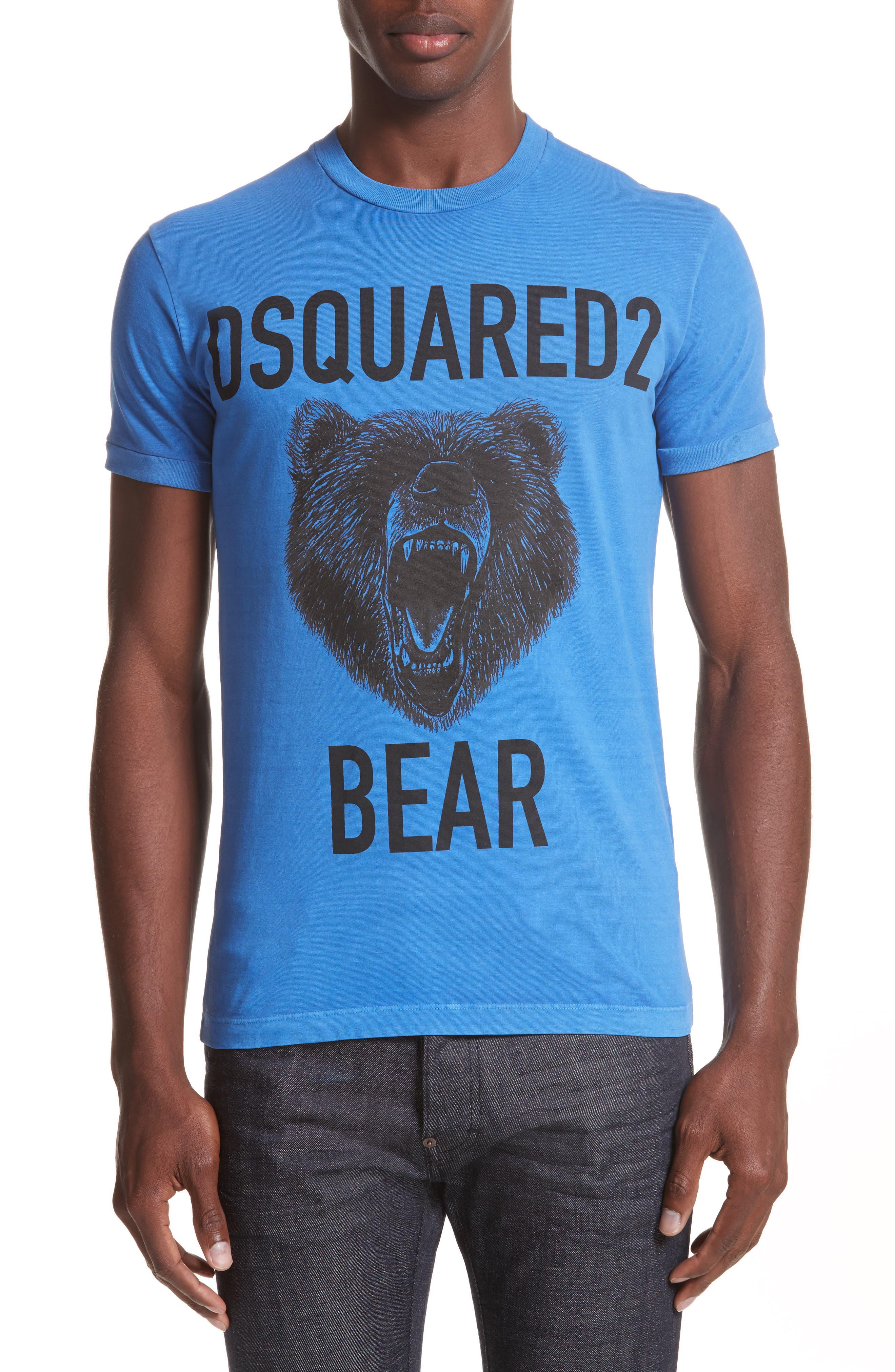 Bear Graphic T-Shirt,                         Main,                         color, Light Blue
