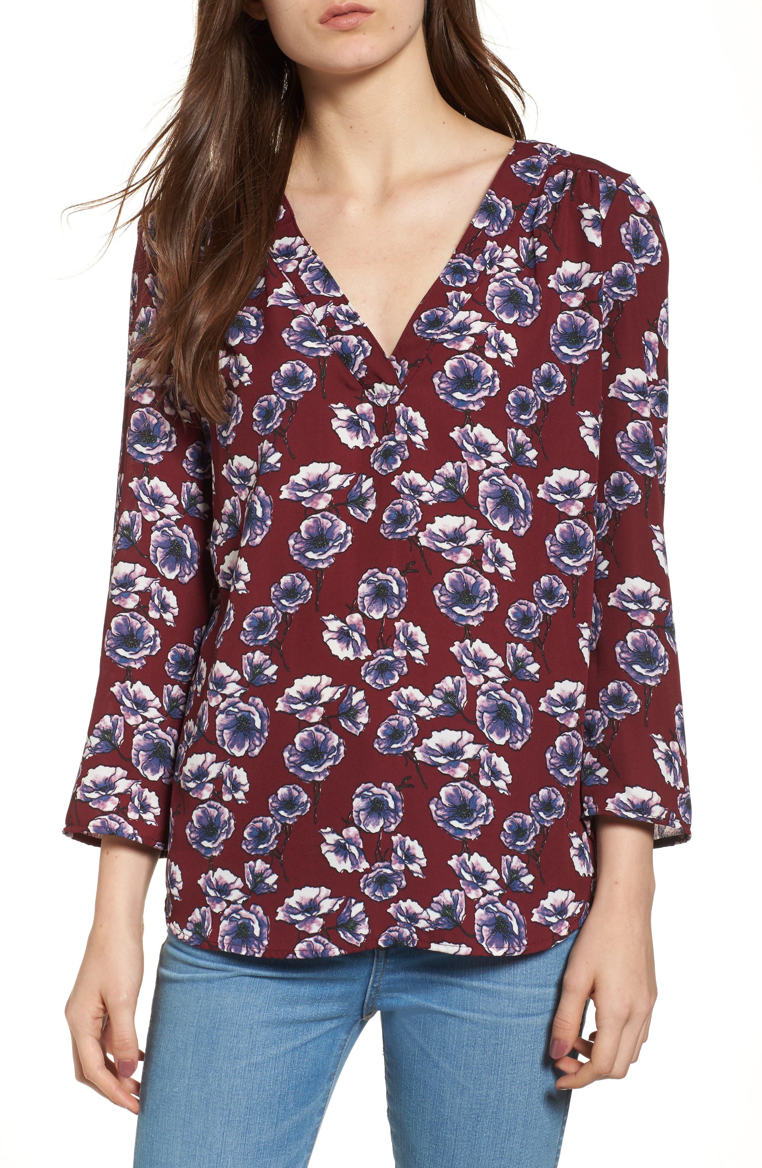 Print V-Neck Top,                         Main,                         color, Burgundy Blooms