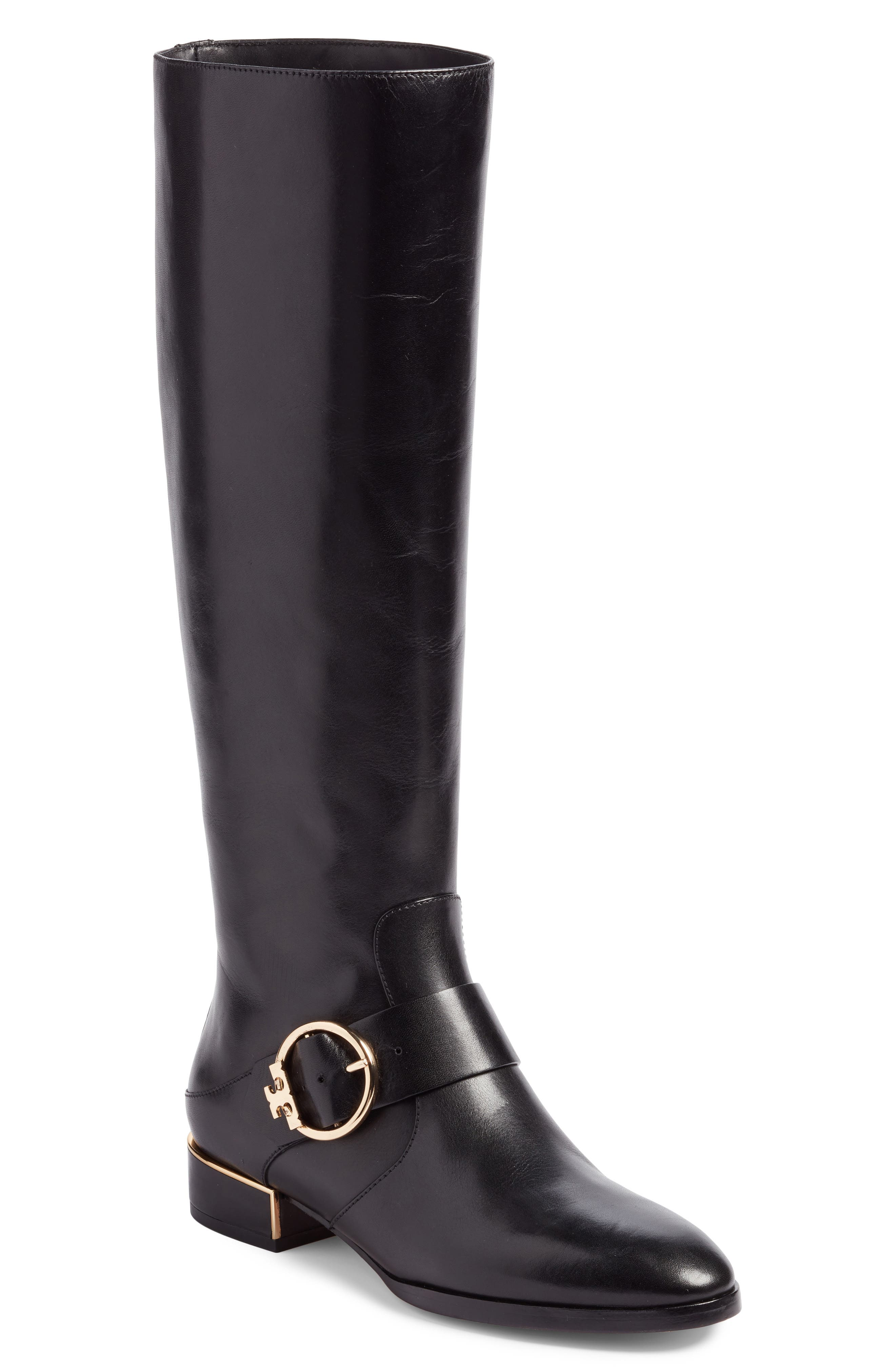 Sofia Buckled Riding Boot,                         Main,                         color, Black
