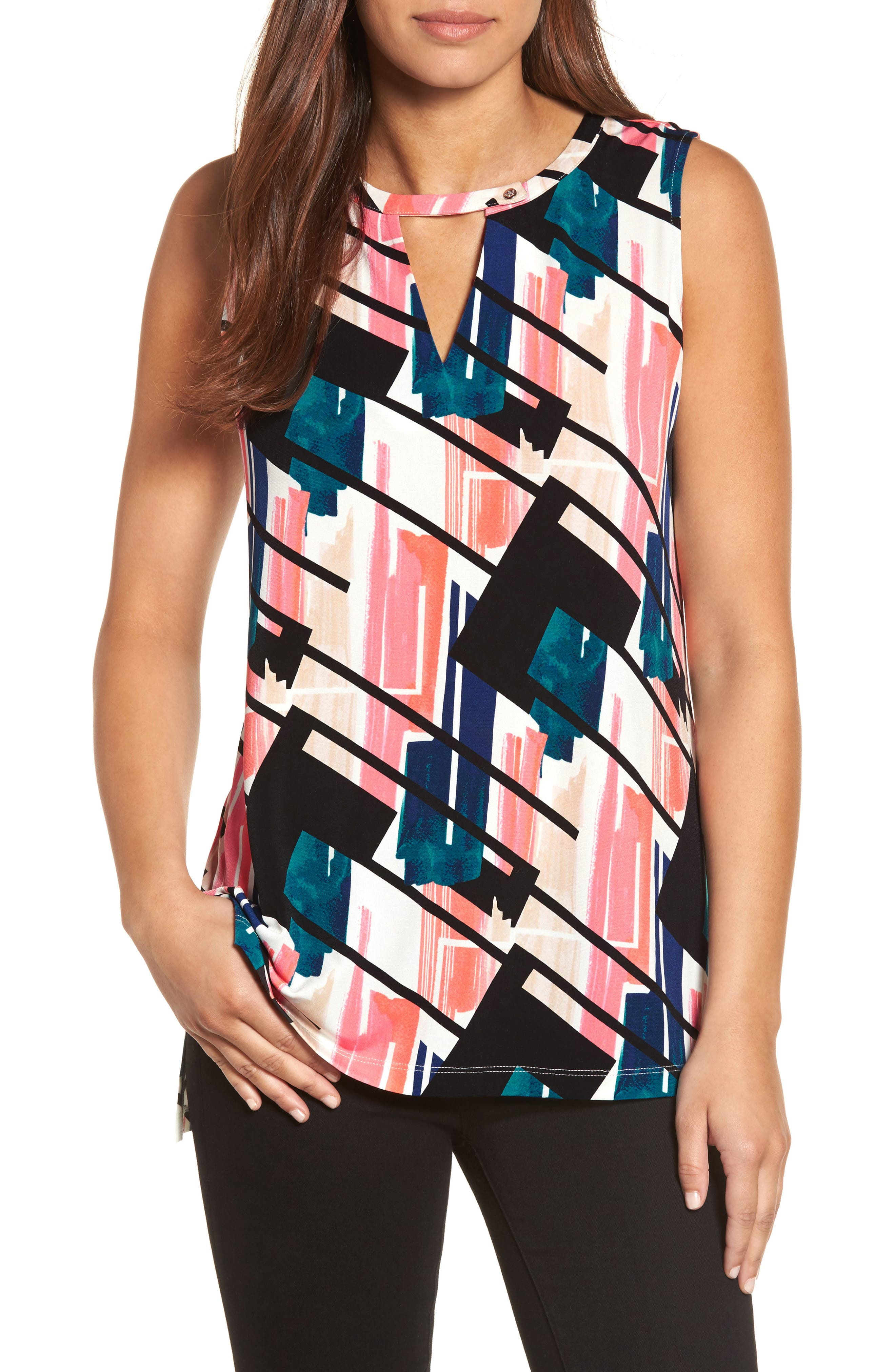 CHAUS Abstract Exhibit Keyhole Top