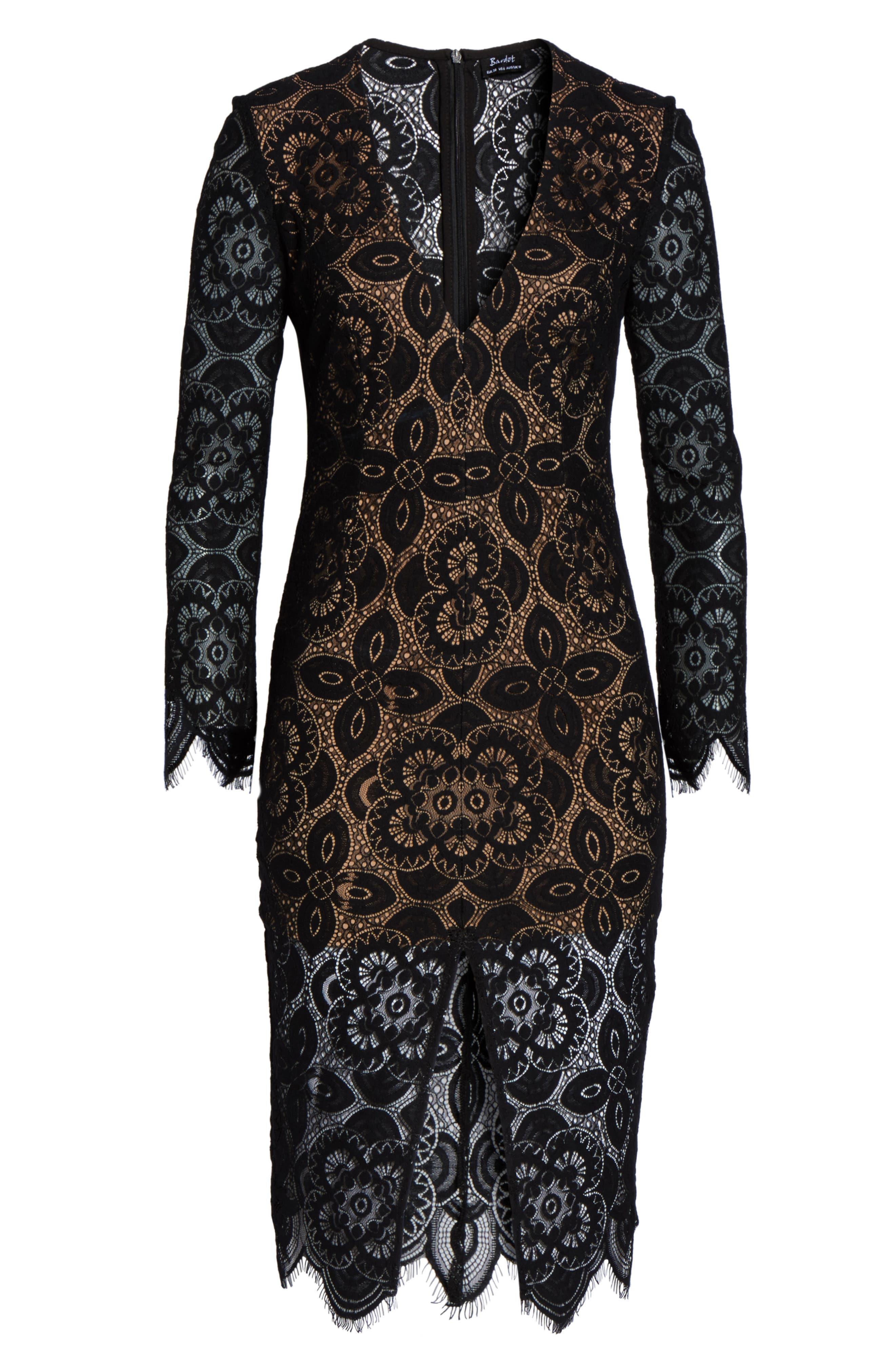 V-Neck Lace Sheath Dress,                             Alternate thumbnail 6, color,                             Black