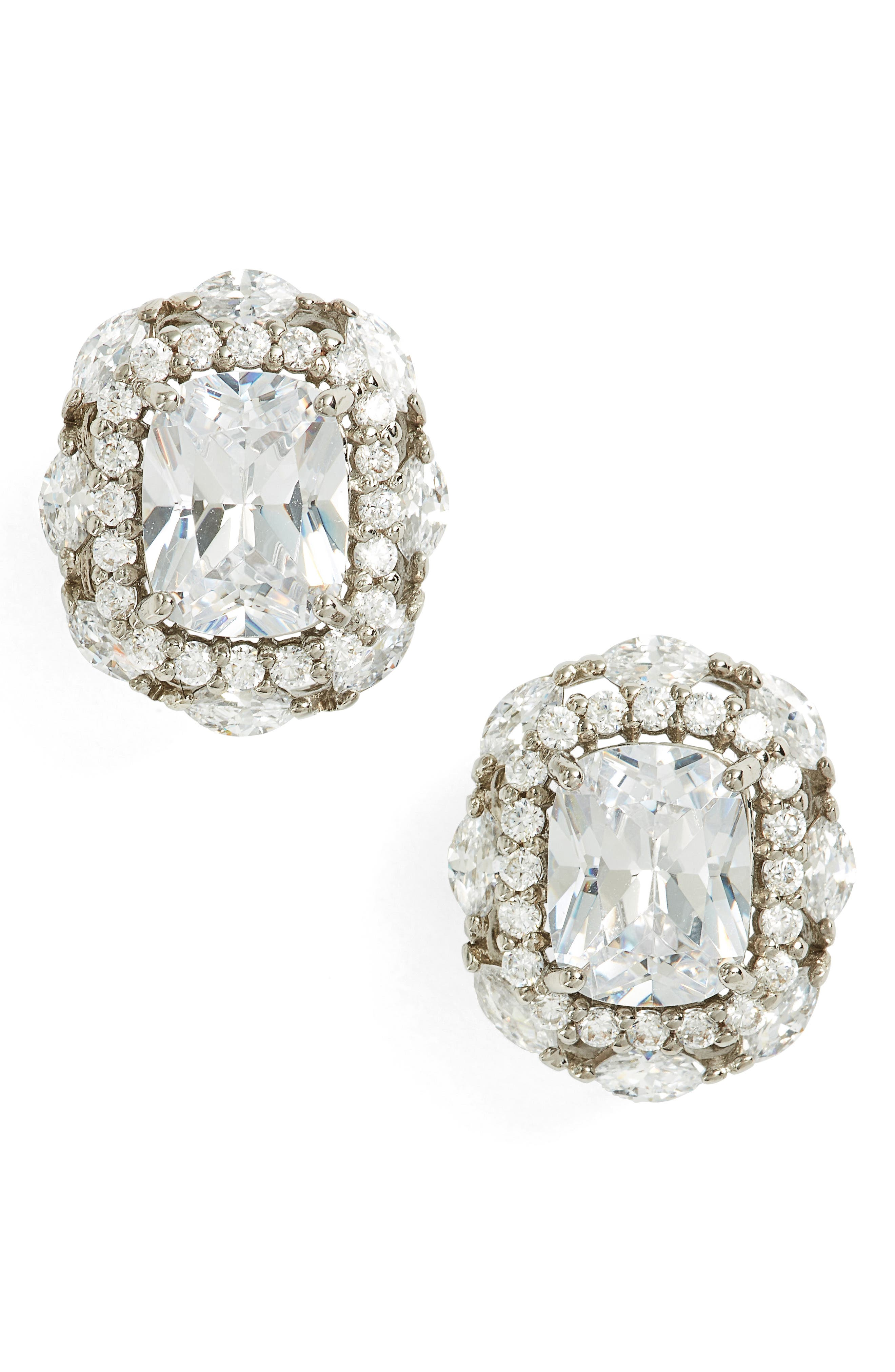 Estate Jewelry Cubic Zirconia Stud Earrings,                         Main,                         color, Silver