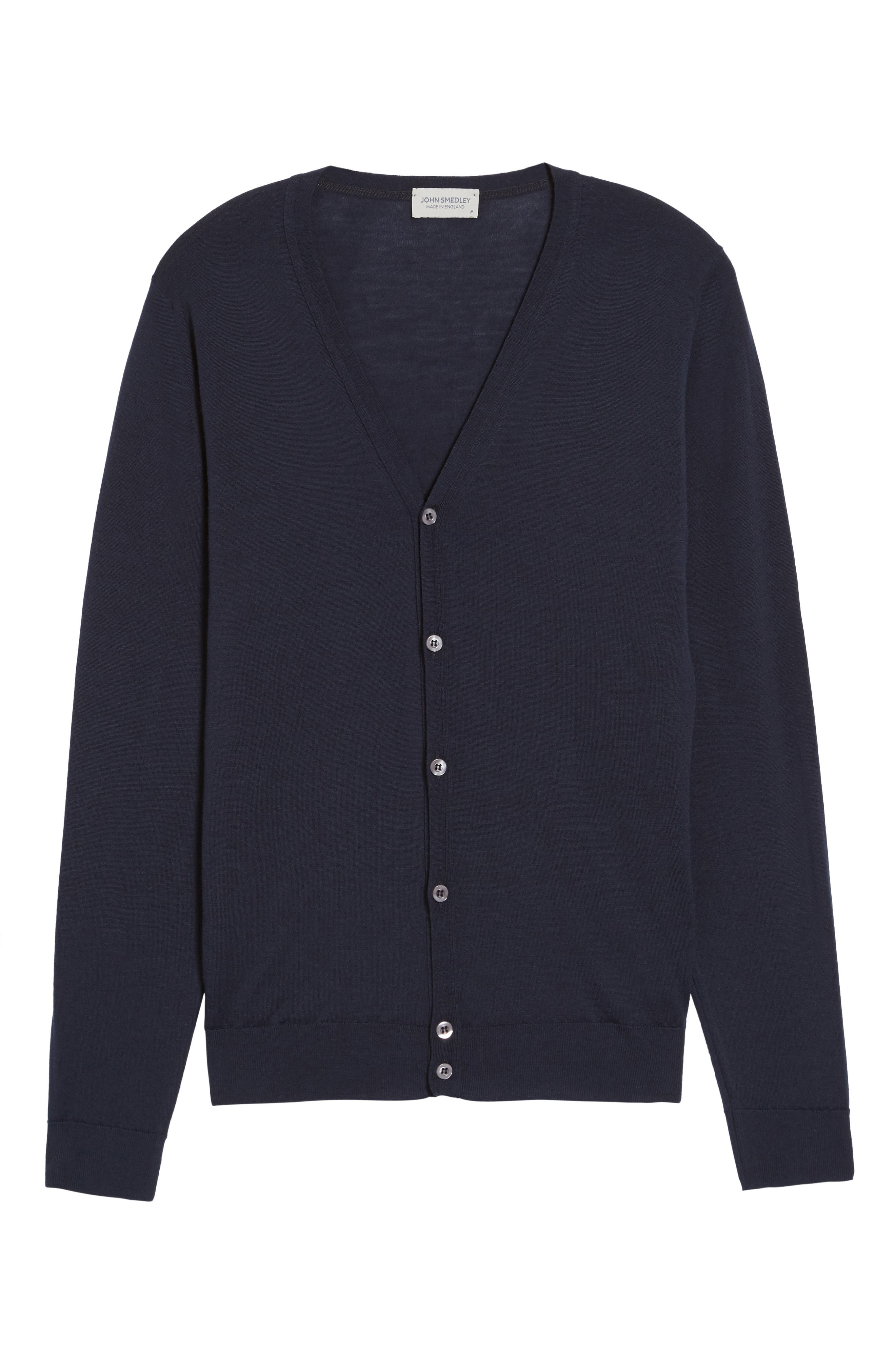 Standard Fit Wool Cardigan,                             Alternate thumbnail 6, color,                             Midnight