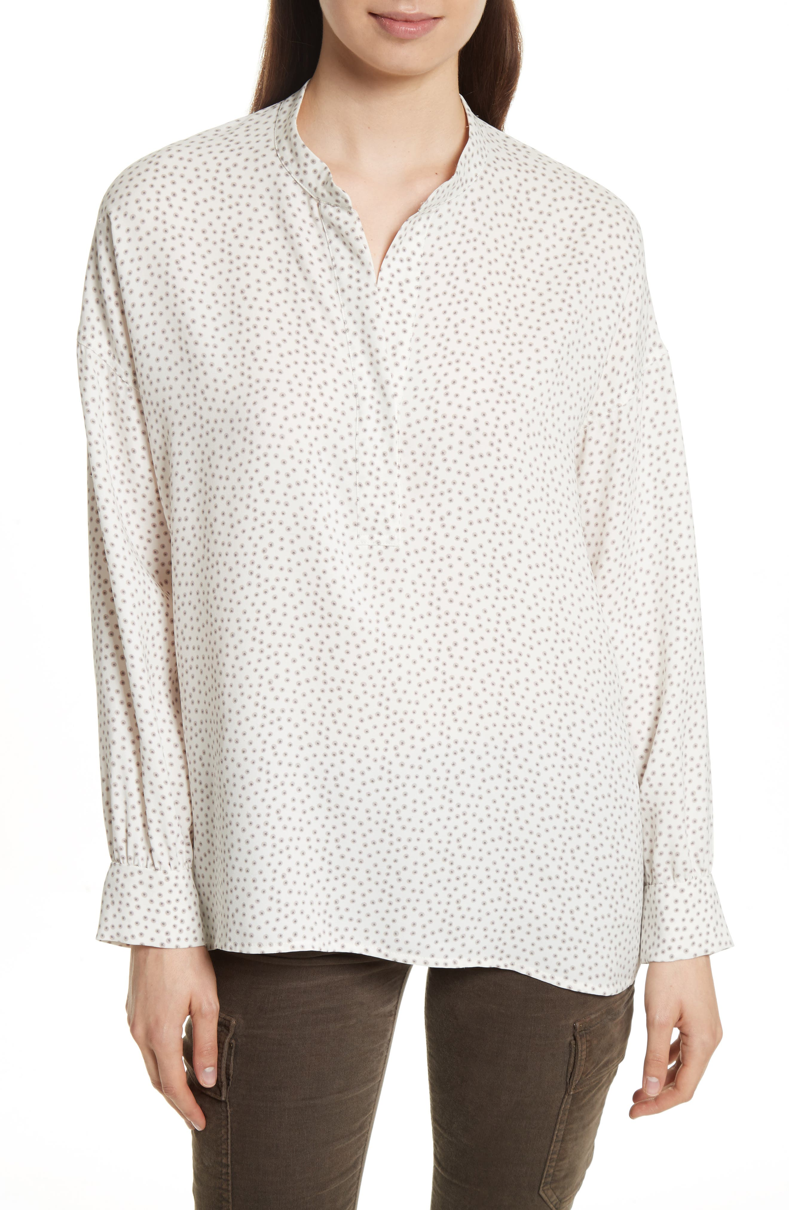 Alternate Image 1 Selected - Vince Celestial Polka Dot Stretch Silk Top