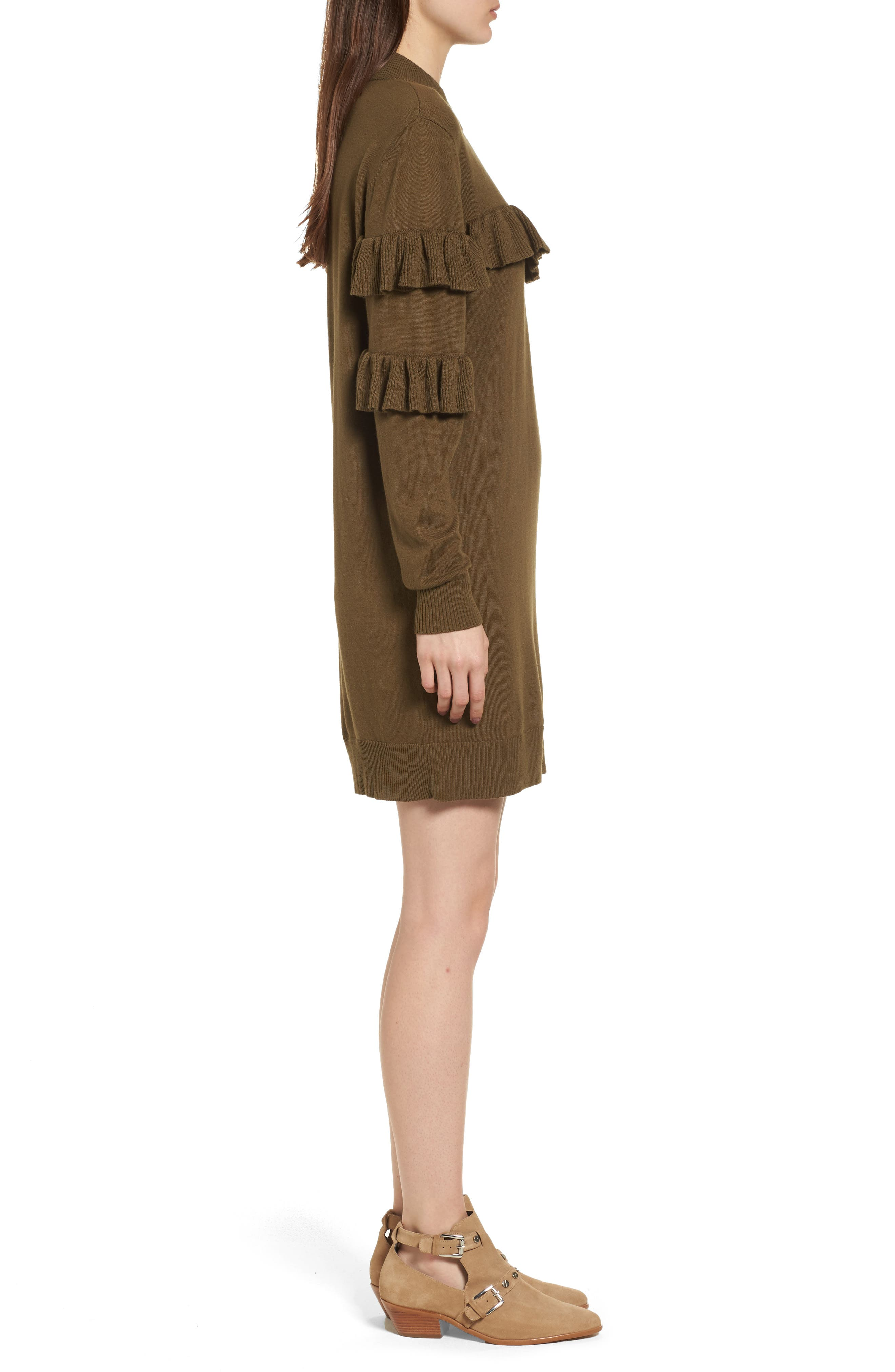 Ruffle Sweater Dress,                             Alternate thumbnail 3, color,                             Olive Dark