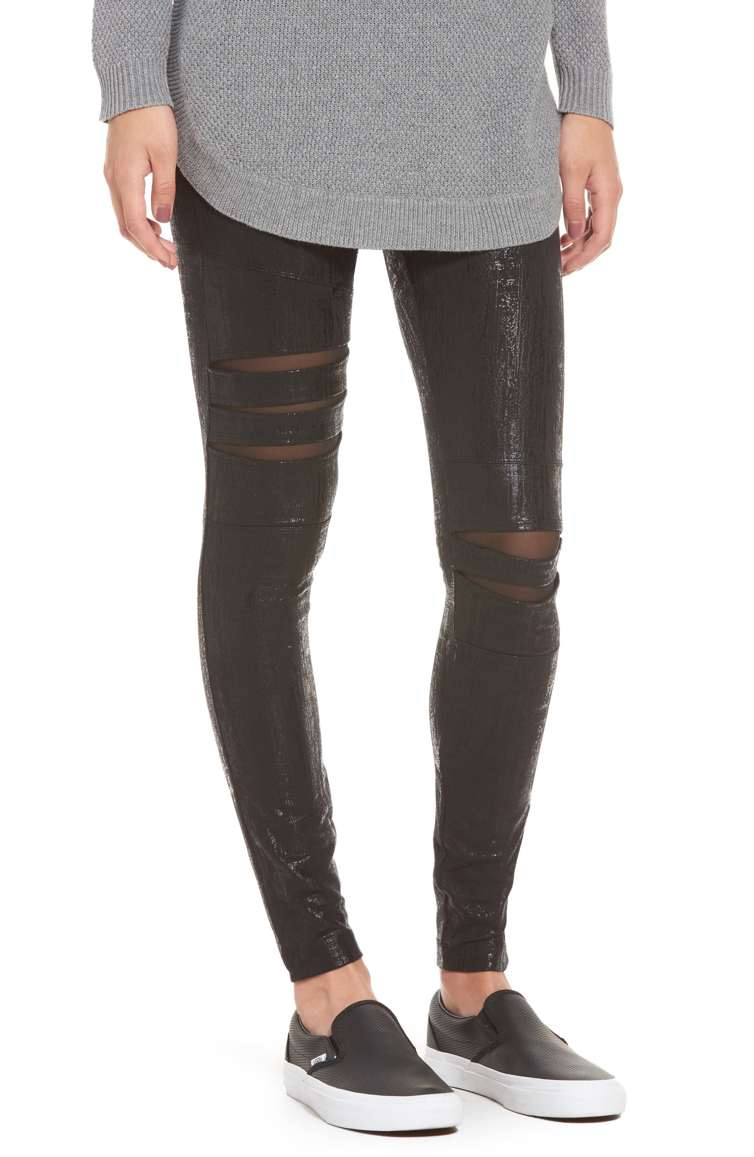 Slashed High Waist Leggings,                         Main,                         color, Liquid Black