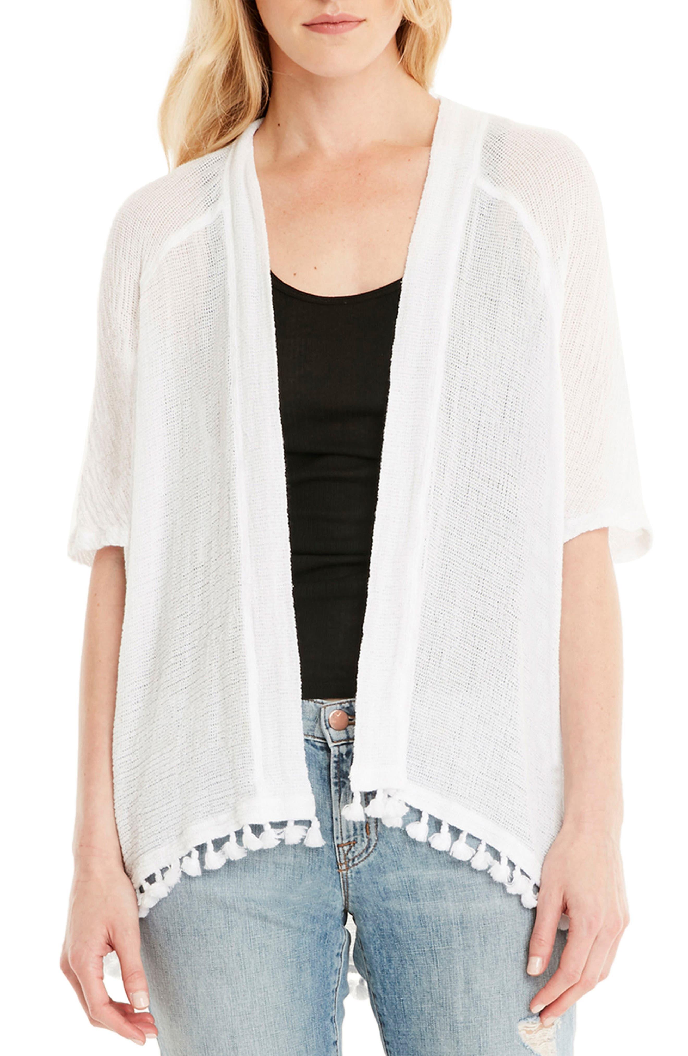 Tassel Trim Kimono Wrap,                         Main,                         color, White
