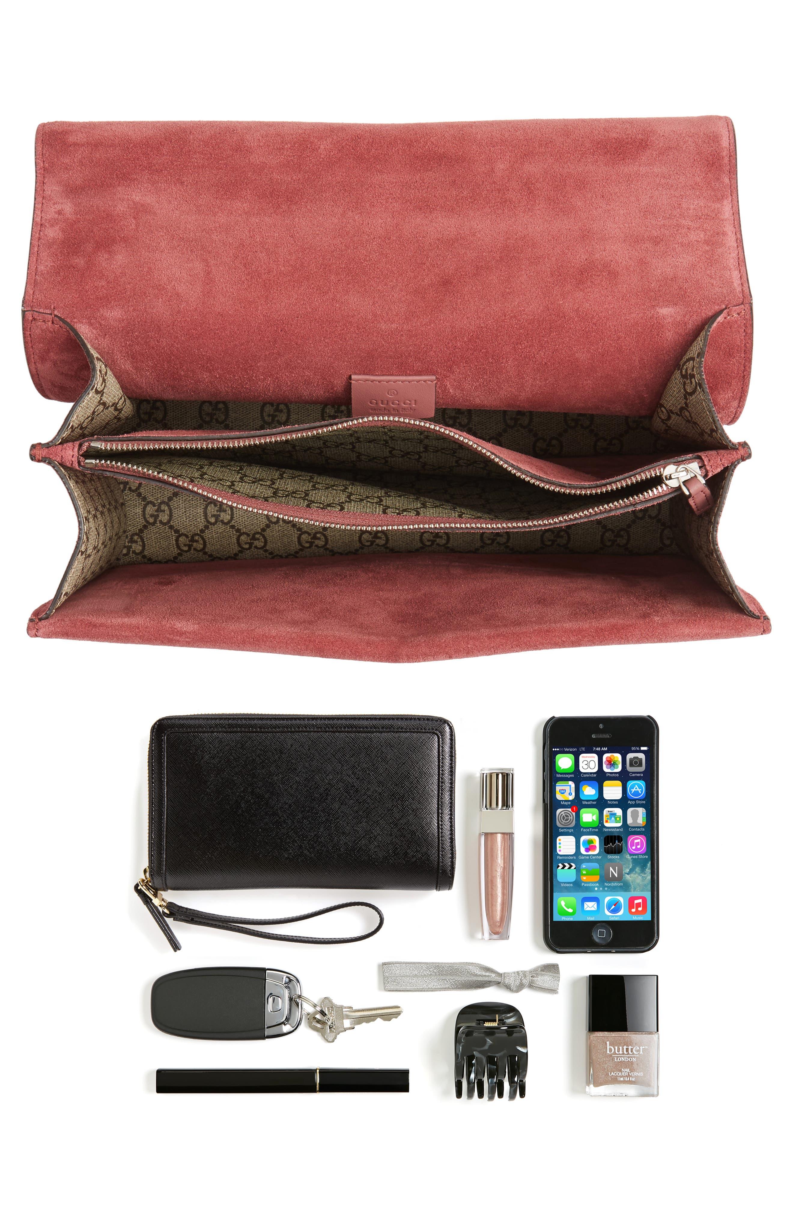 Alternate Image 8  - Gucci Large Floral GG Supreme Canvas & Suede Shoulder Bag