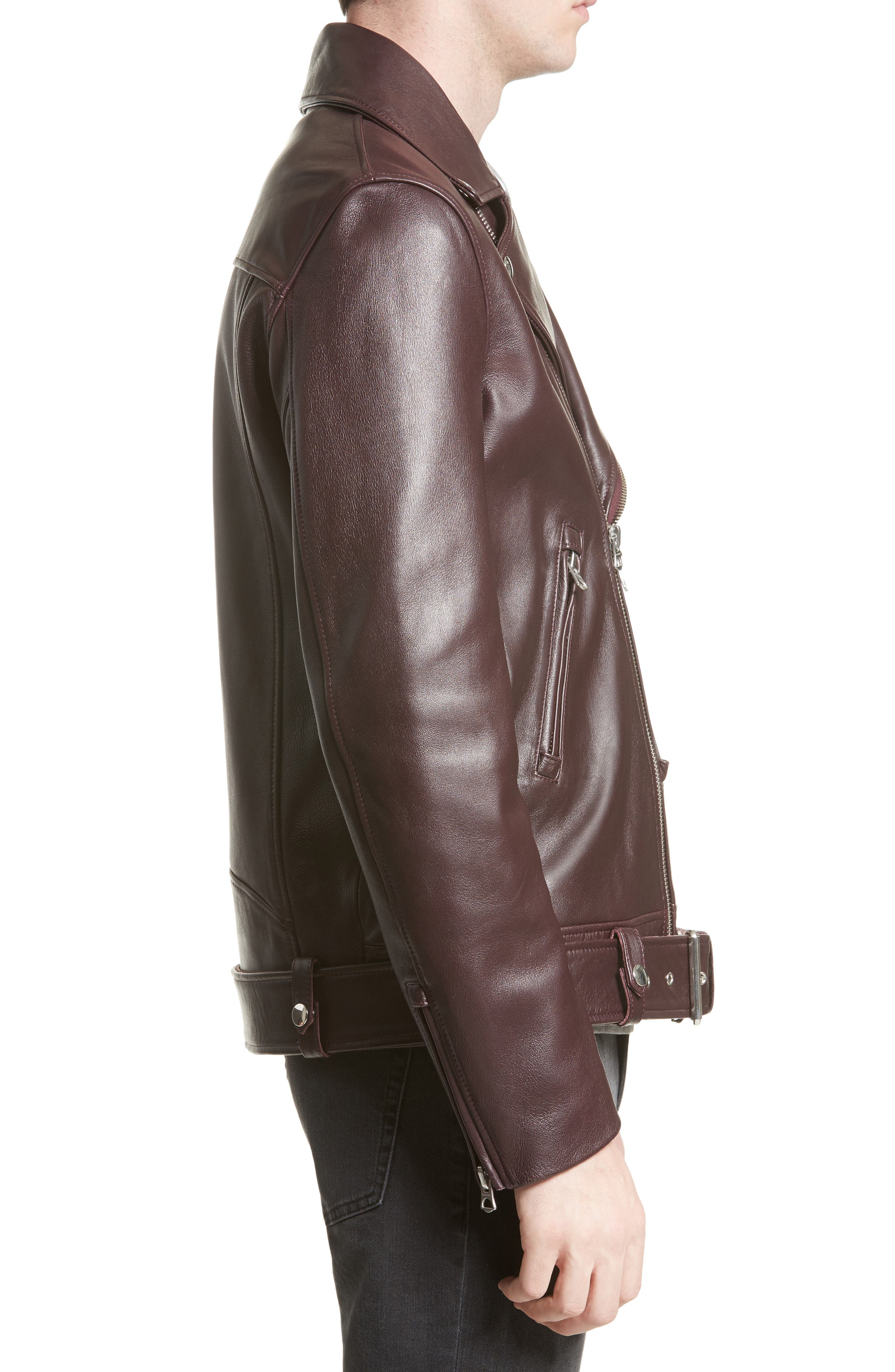 Acne Nate Leather Jacket,                             Alternate thumbnail 3, color,                             Oxblood Red