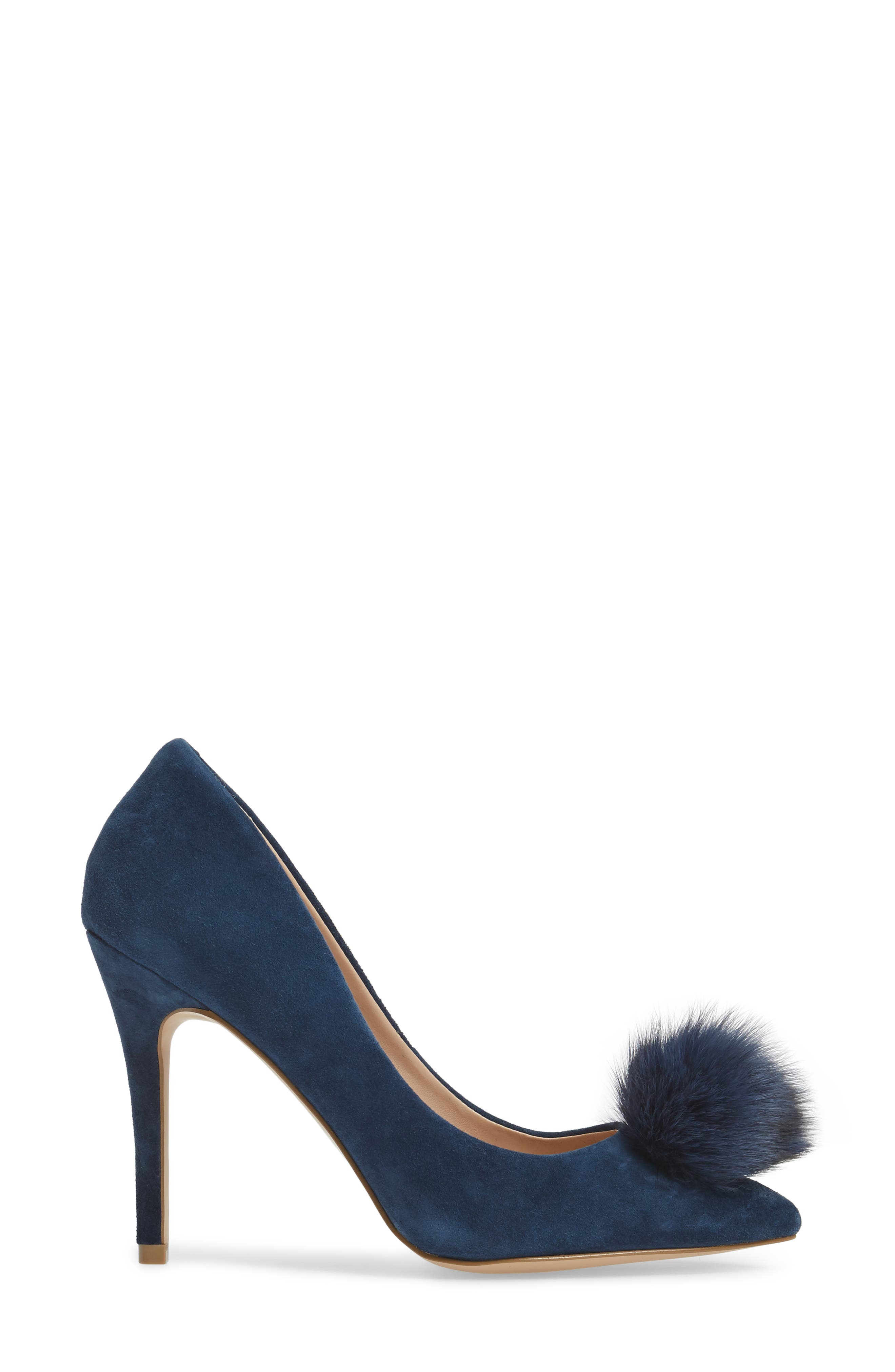 Pixie Pump with Genuine Fox Fur Pom,                             Alternate thumbnail 3, color,                             Midnight Suede