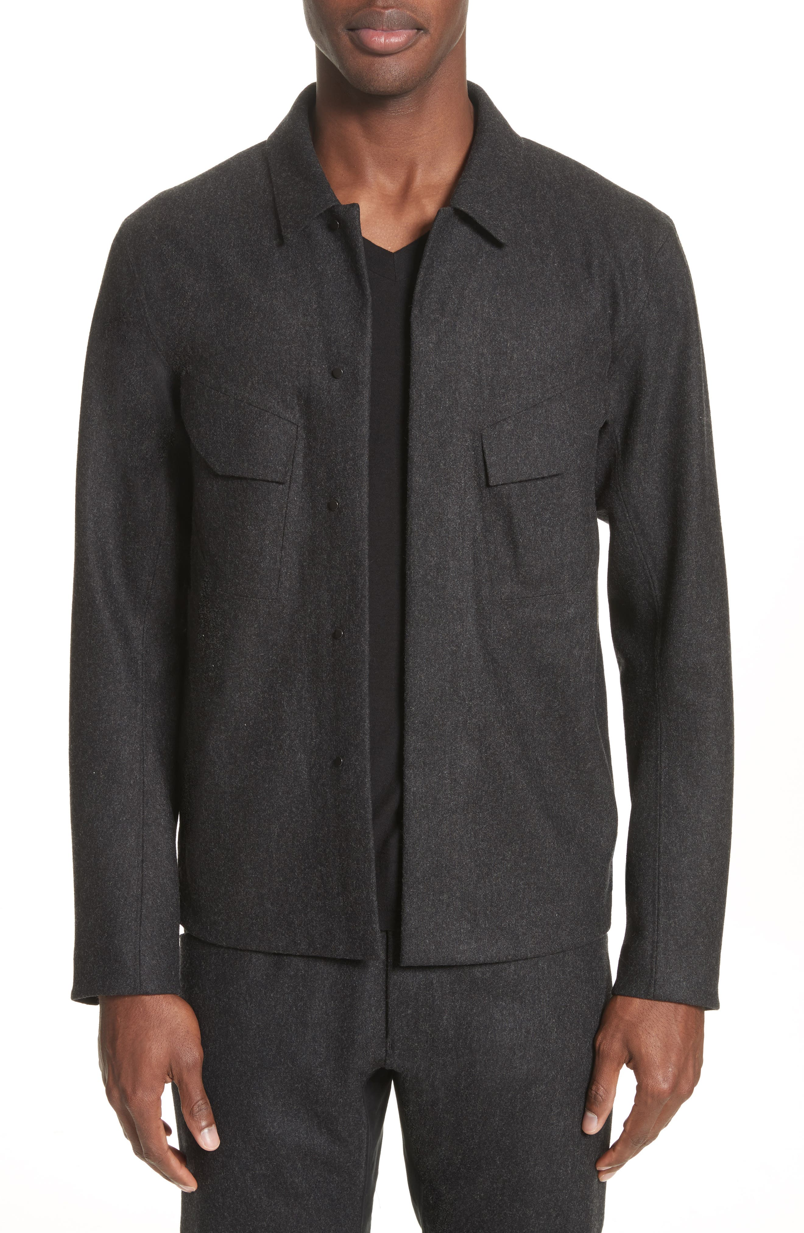 Haedn Shirt Jacket,                         Main,                         color, Black Heather
