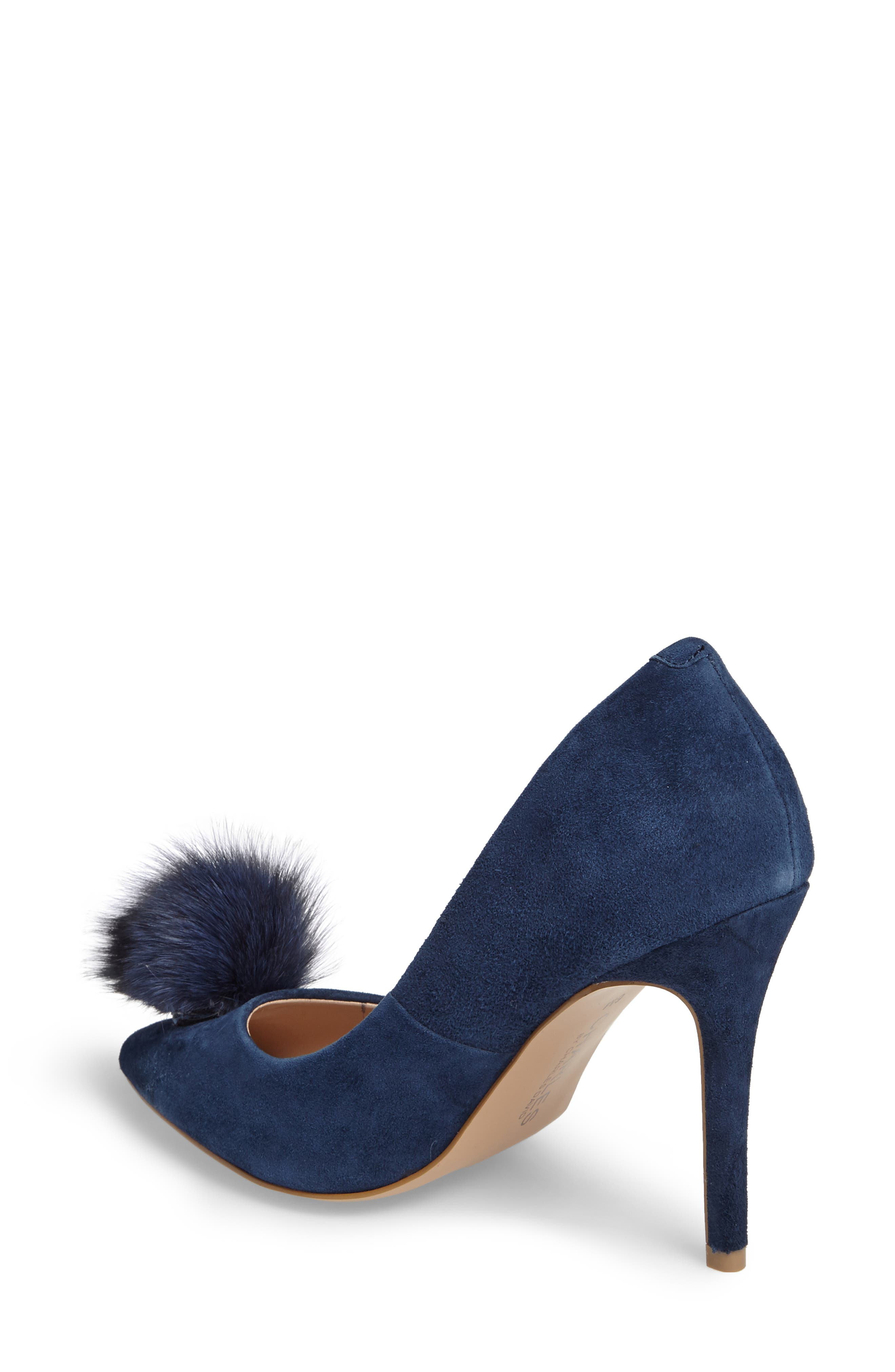 Pixie Pump with Genuine Fox Fur Pom,                             Alternate thumbnail 2, color,                             Midnight Suede