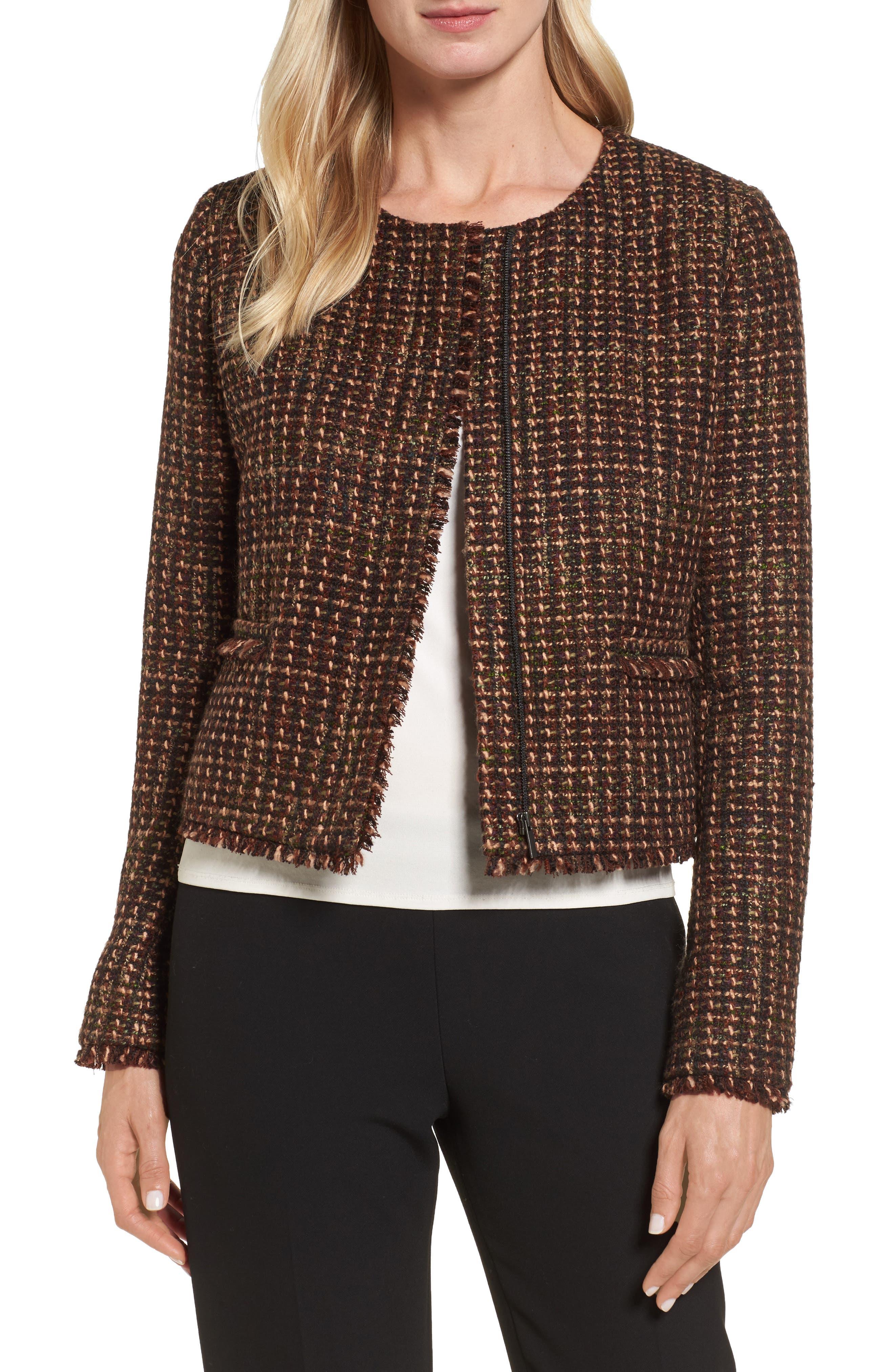Crop Tweed Jacket,                         Main,                         color, Brown Tweed