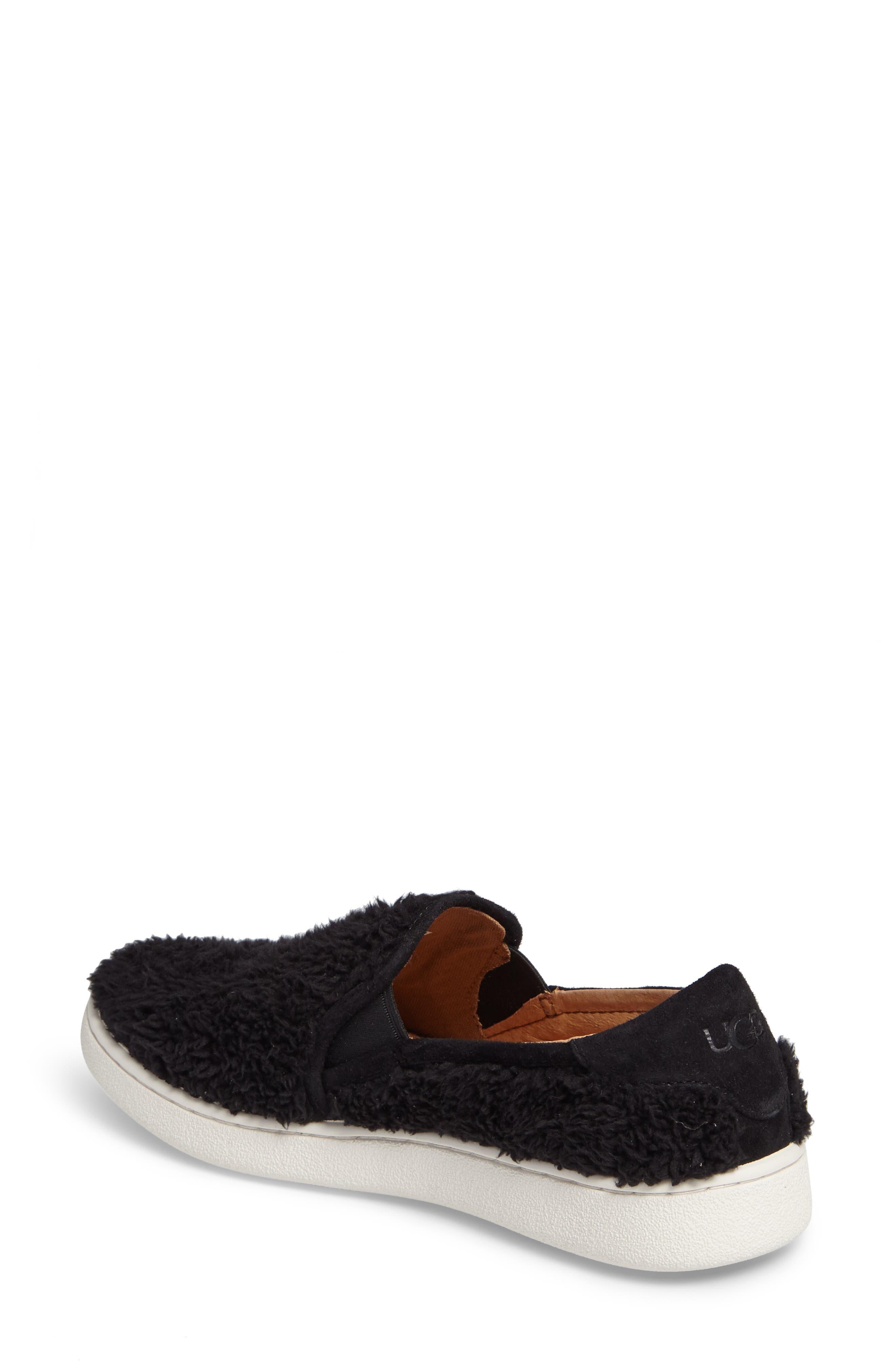 Ricci Plush Slip-On Sneaker,                             Alternate thumbnail 2, color,                             Black Fabric