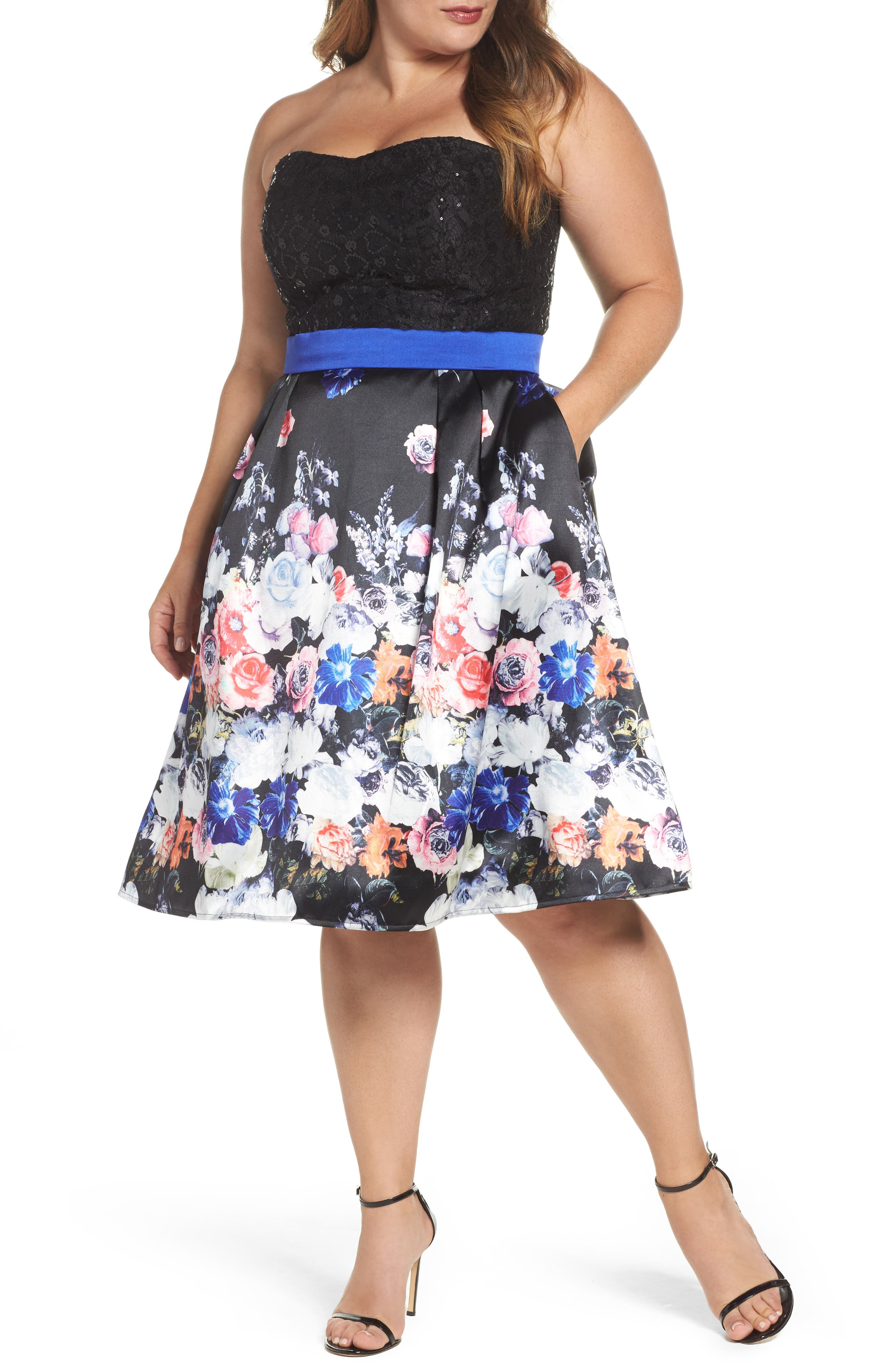 Floral Print Strapless Fit & Flare Dress,                             Main thumbnail 1, color,                             Black/ Multi