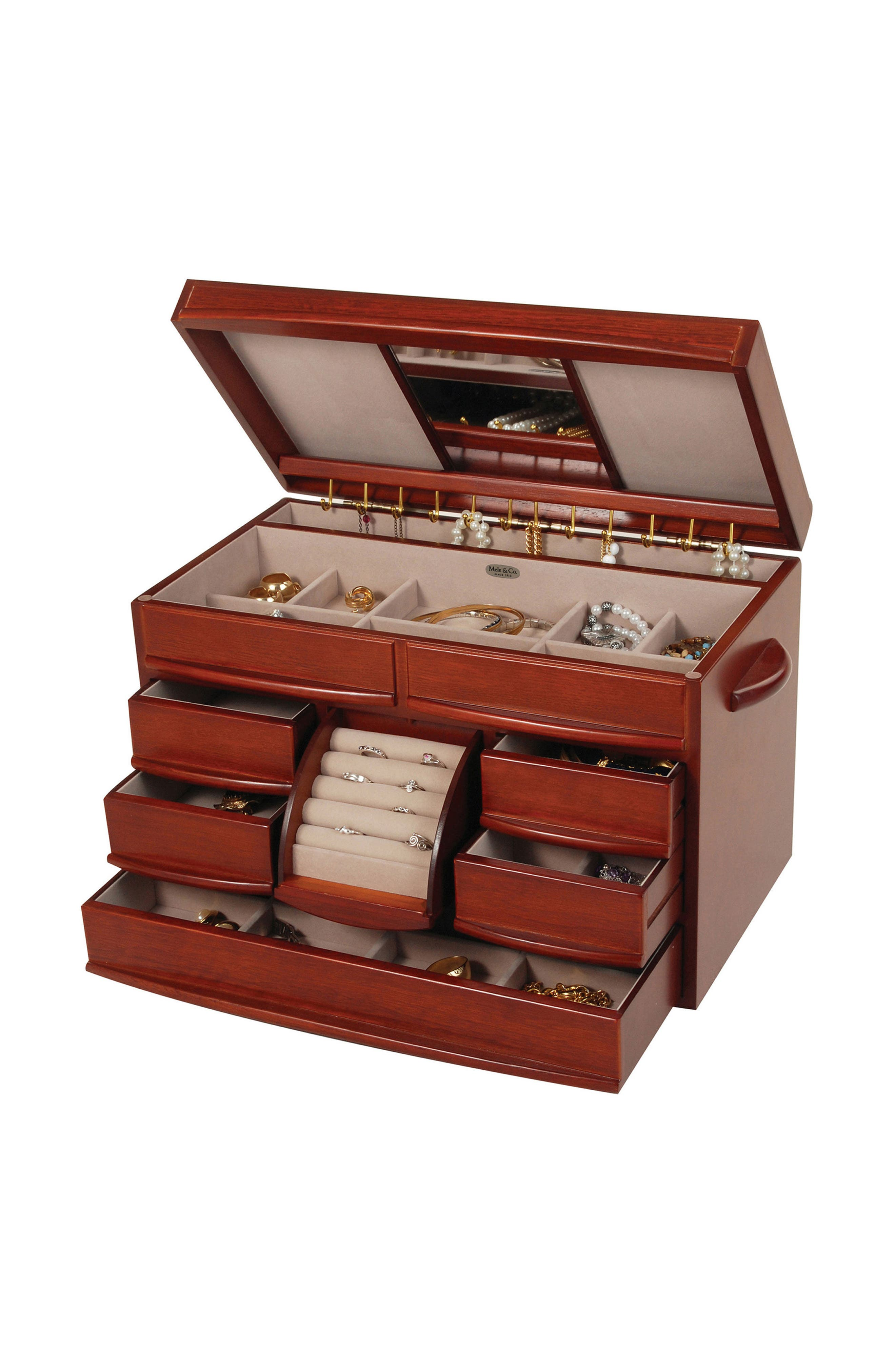 Empress Wooden Jewelry Box,                             Alternate thumbnail 2, color,                             Brown