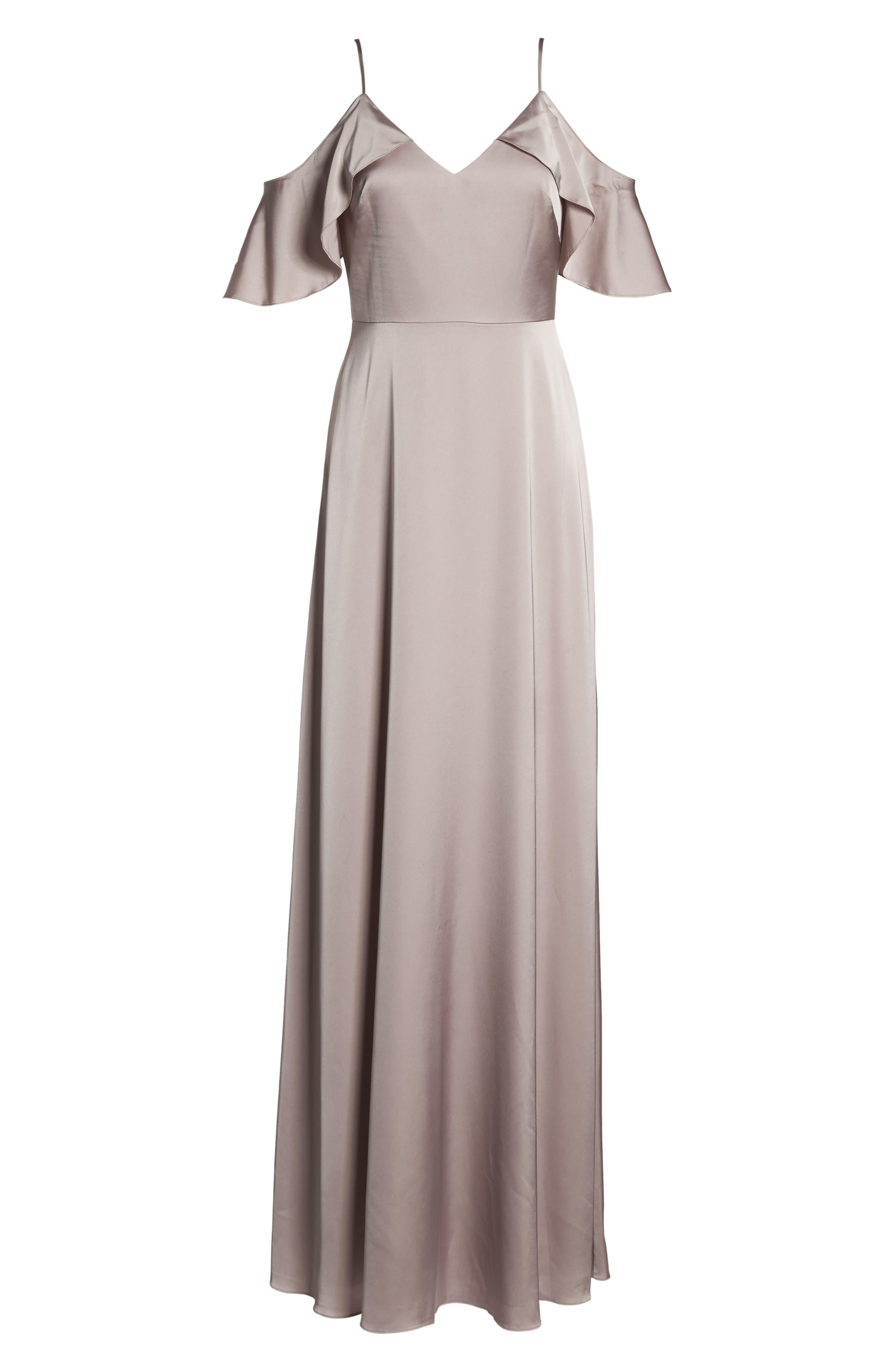 Alternate Image 7  - Monique Lhuillier Bridesmaids Isabel Sateen Cold Shoulder Gown