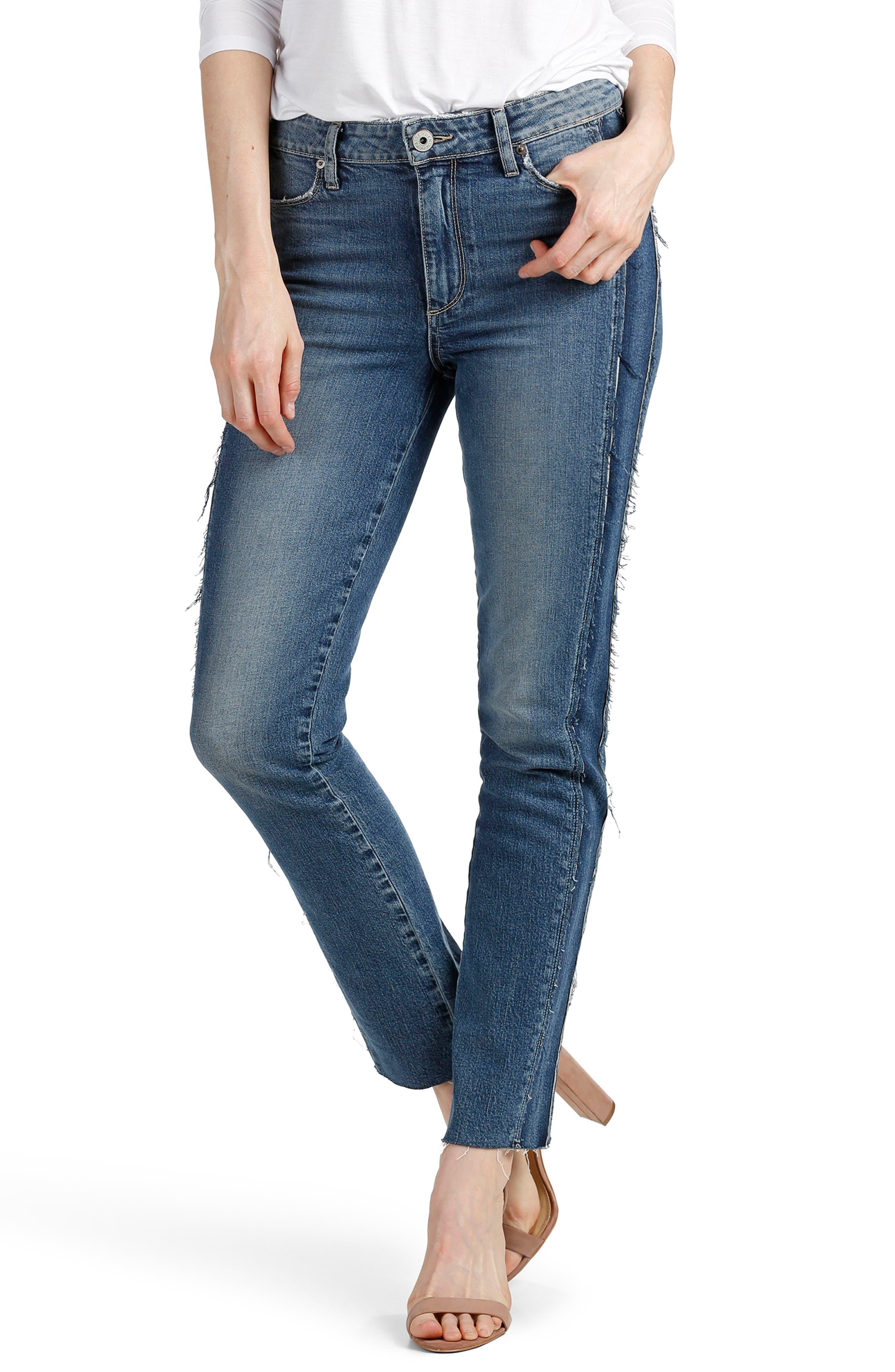Main Image - PAIGE Legacy - Julia Tuxedo Stripe Raw Straight Leg Jeans (Dawn Racer)