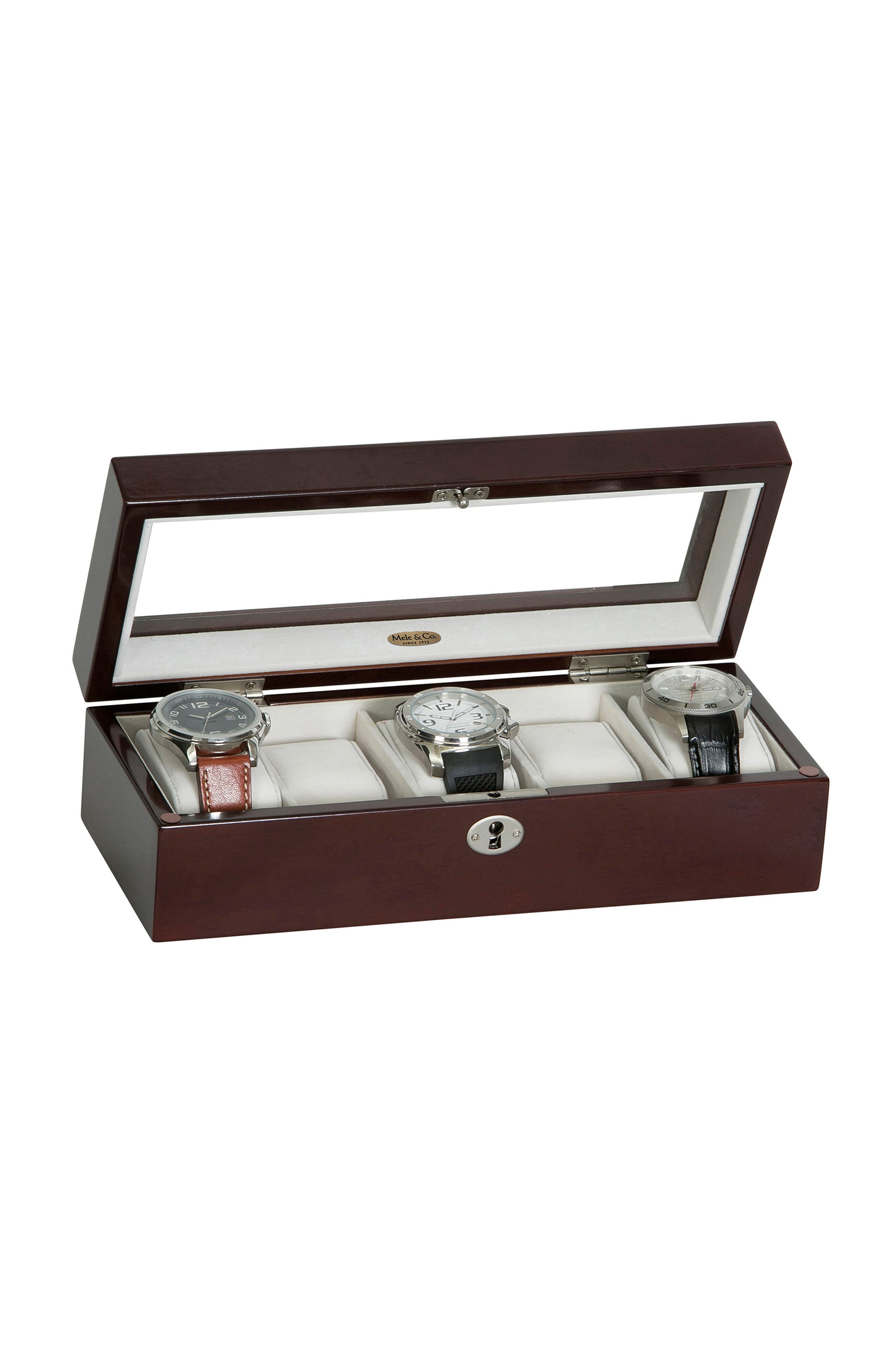 Macon Locking Watch Box,                             Alternate thumbnail 5, color,                             Brown