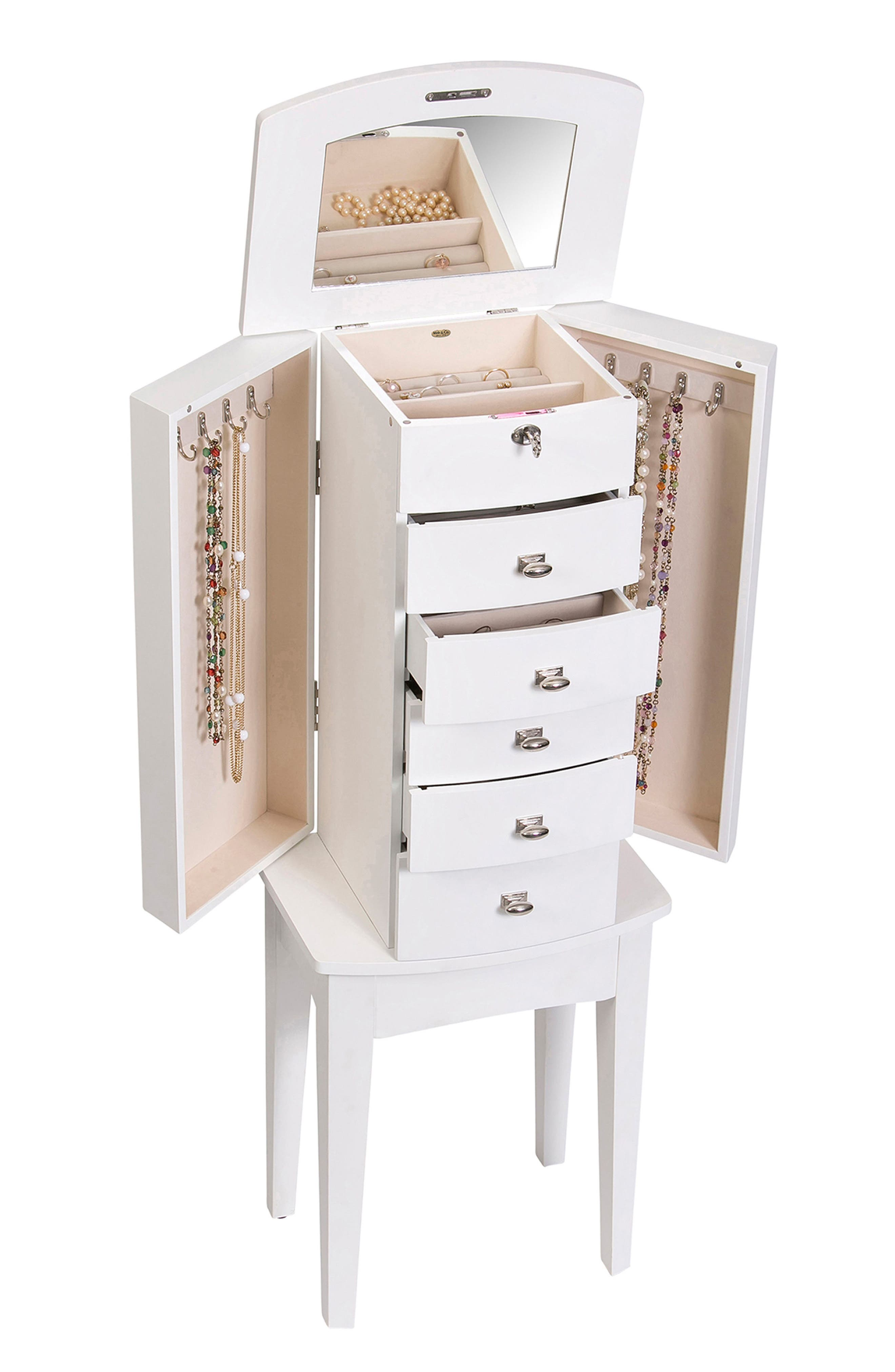 Hadley Jewelry Armoire,                             Alternate thumbnail 2, color,                             White