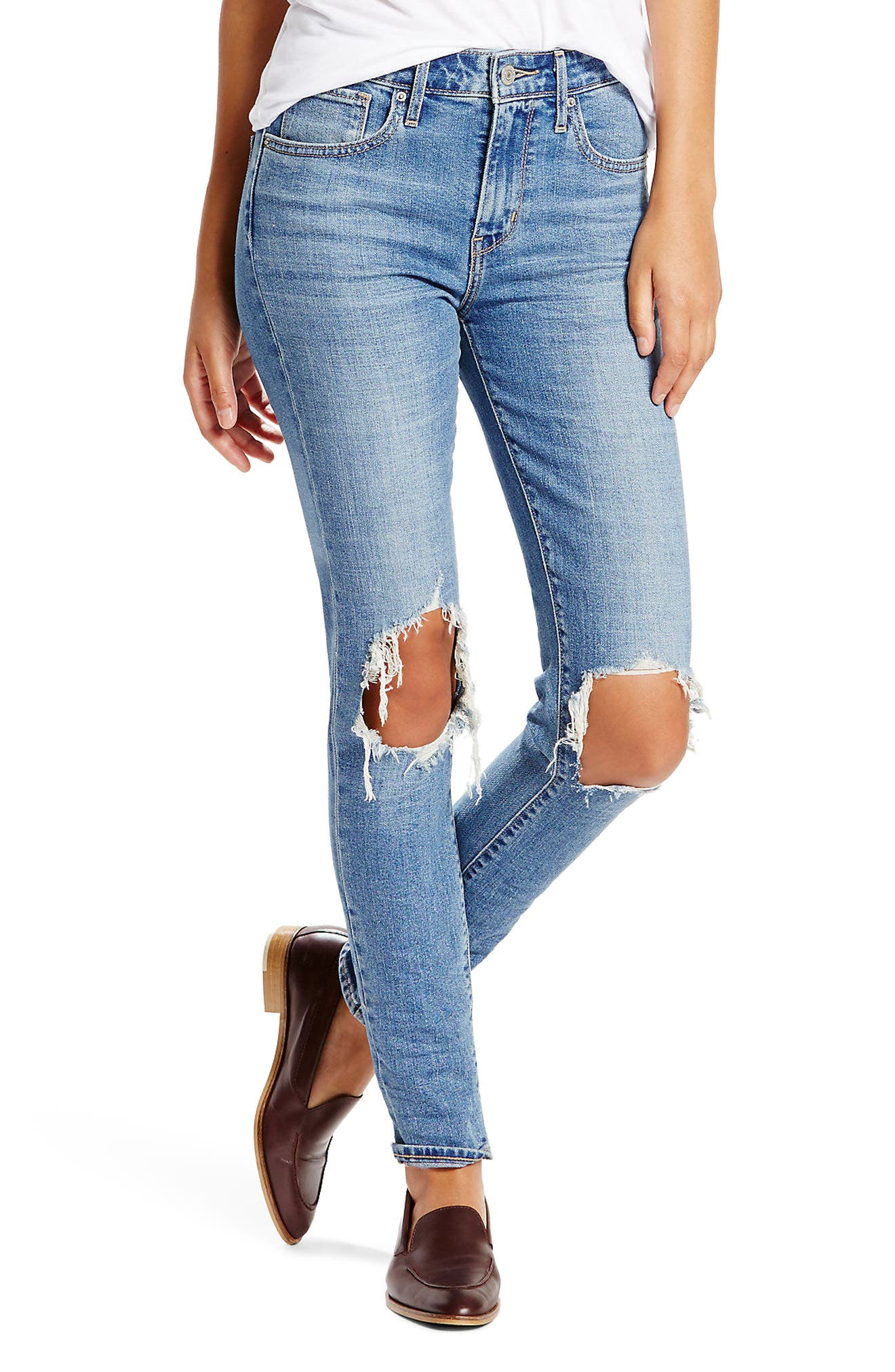 Levi's® 721 Ripped High Waist Skinny Jeans (Rugged Indigo)