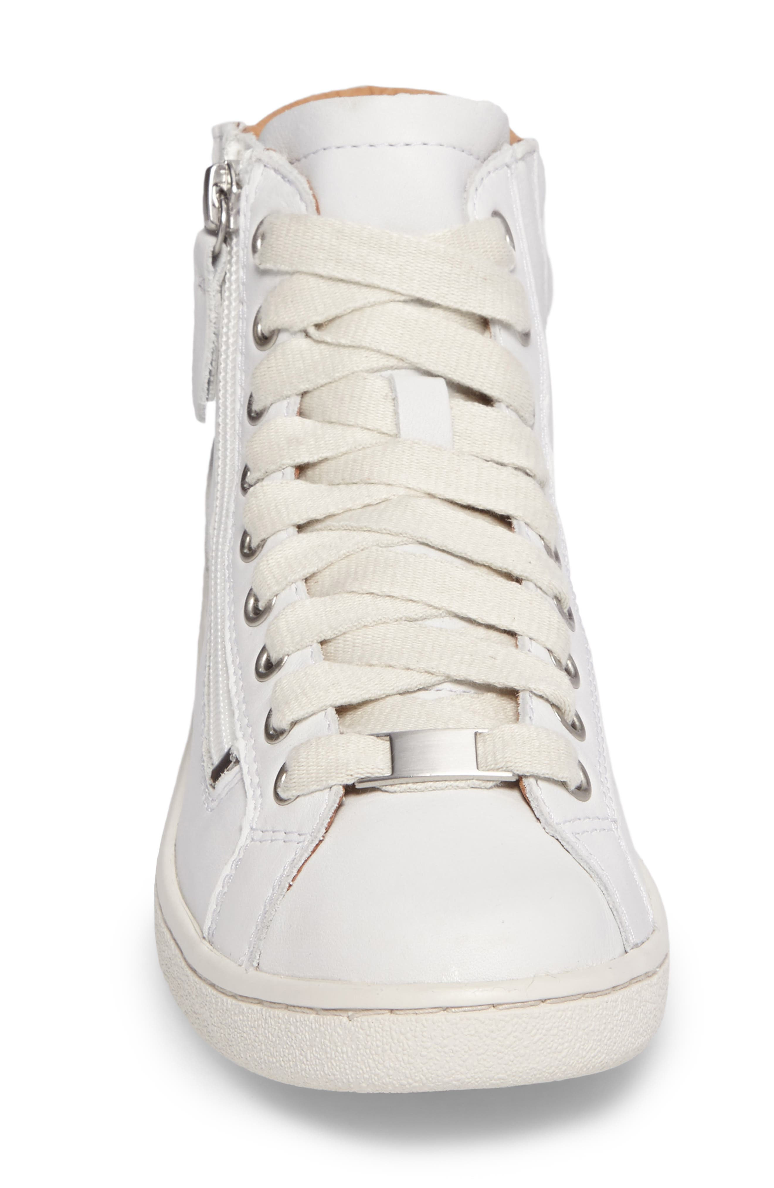 UGG Olive High Top Sneaker,                             Alternate thumbnail 4, color,                             White Leather