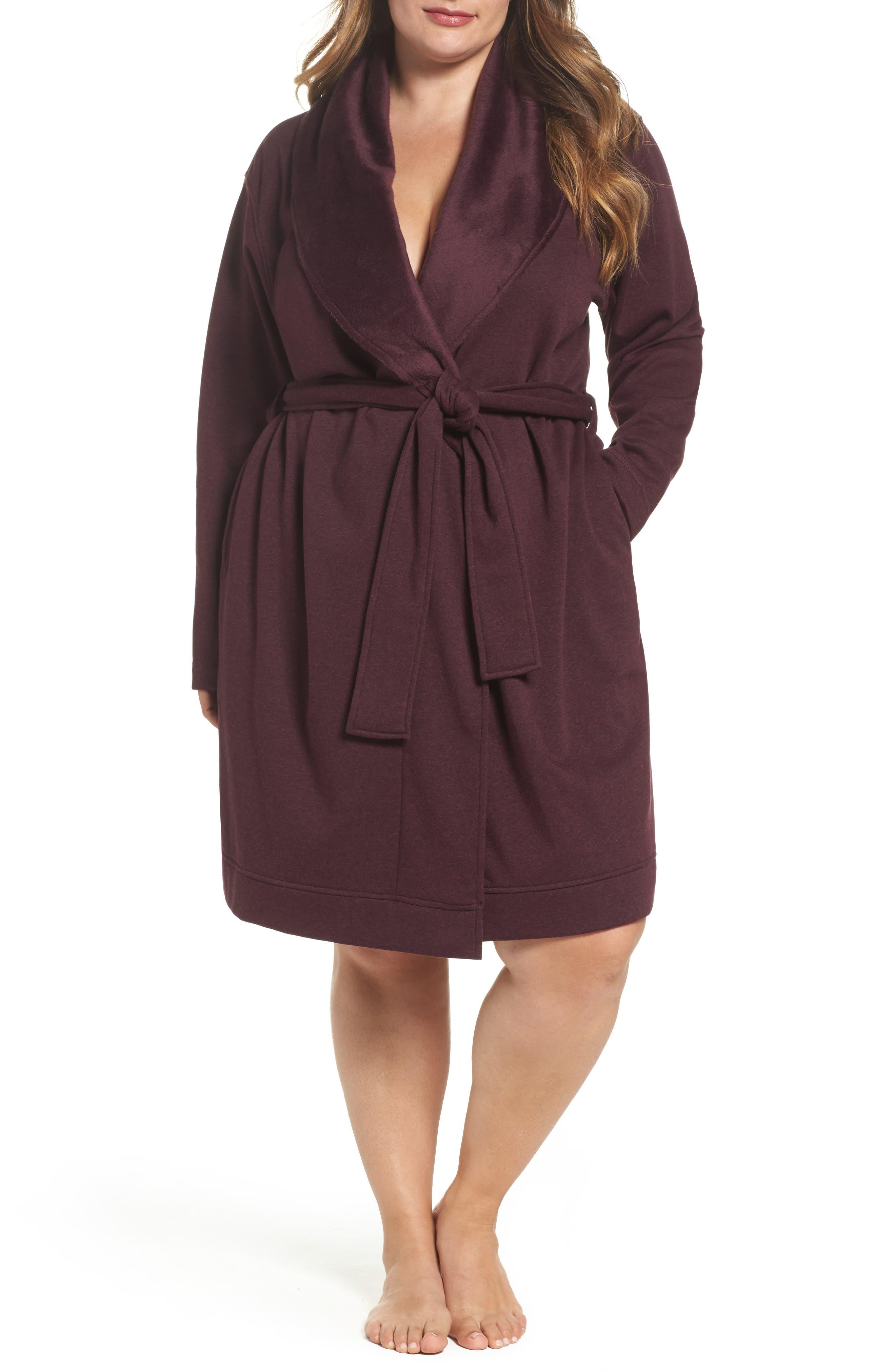 Main Image - UGG® 'Blanche' Plush Shawl Collar Robe (Plus Size)