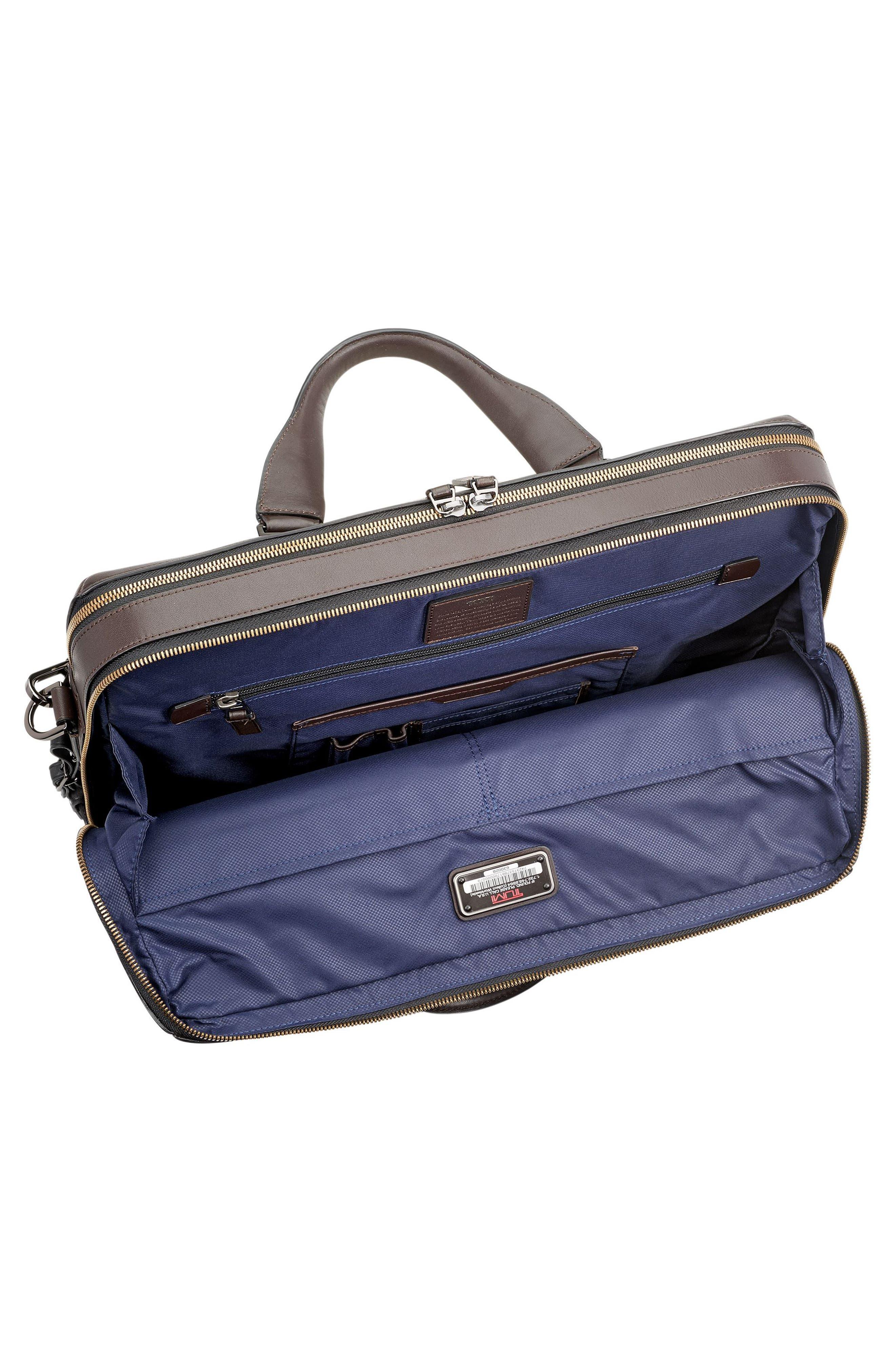 Harrison Horton Double Zip Leather Briefcase,                             Alternate thumbnail 3, color,                             Brown