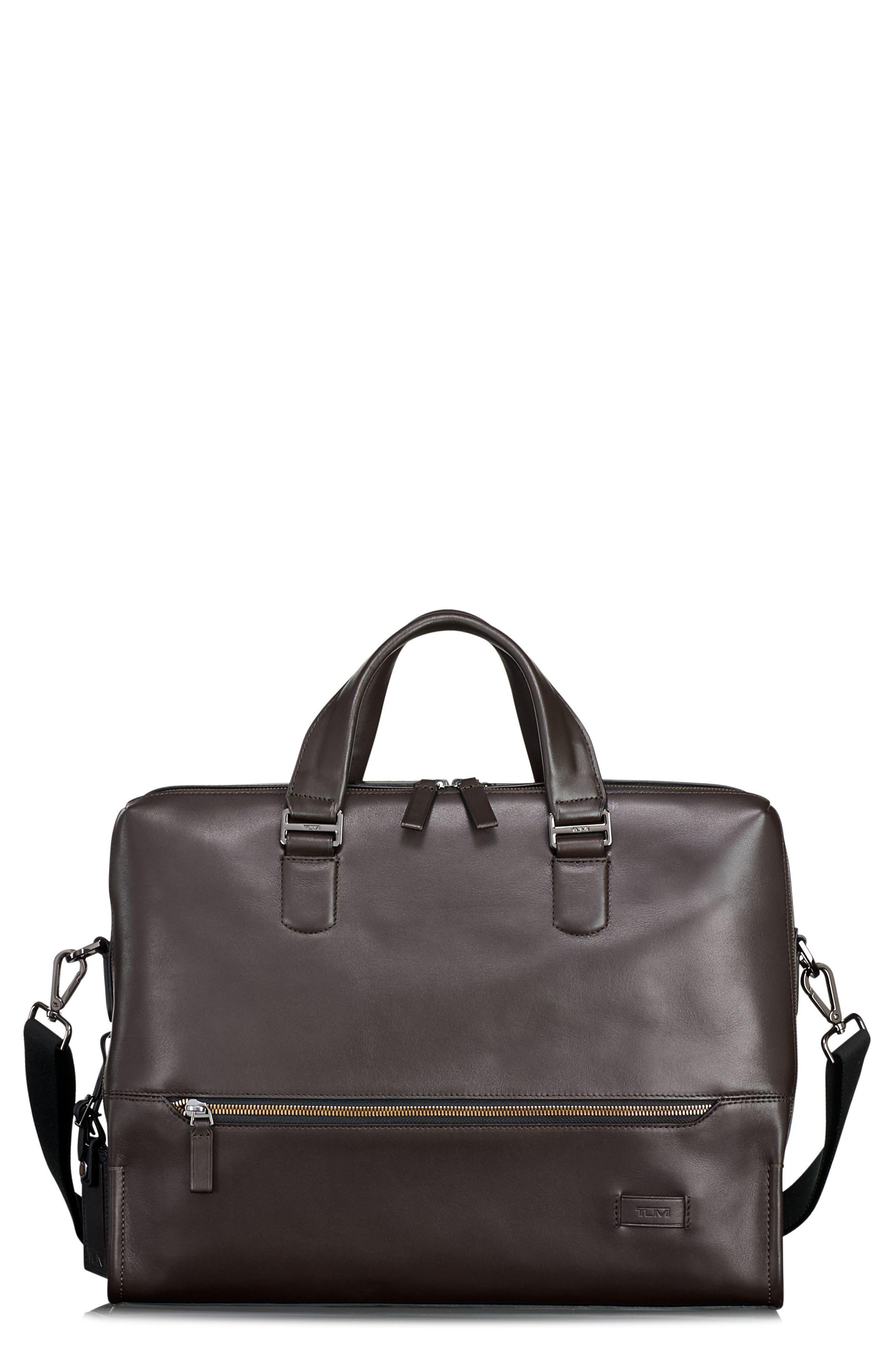 Harrison Horton Double Zip Leather Briefcase,                             Main thumbnail 1, color,                             Brown