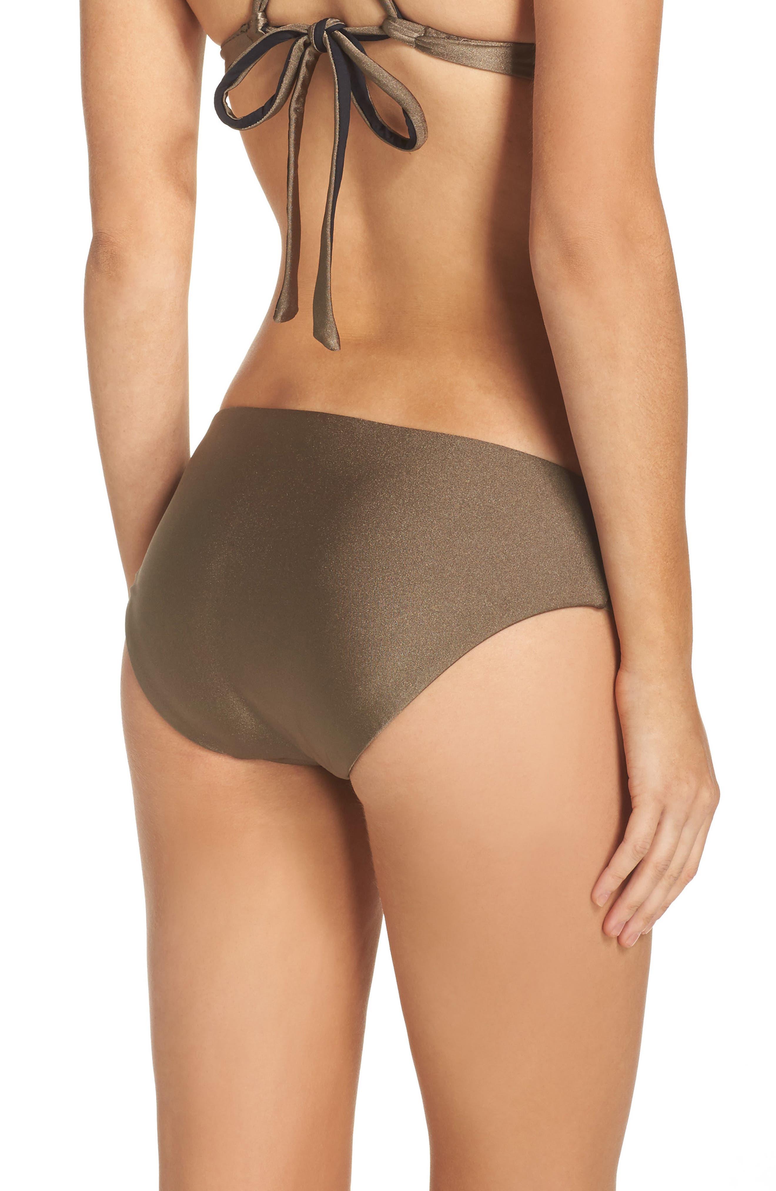 Reversible Shimmer Hipster Bikini Bottoms,                             Alternate thumbnail 2, color,                             Mink