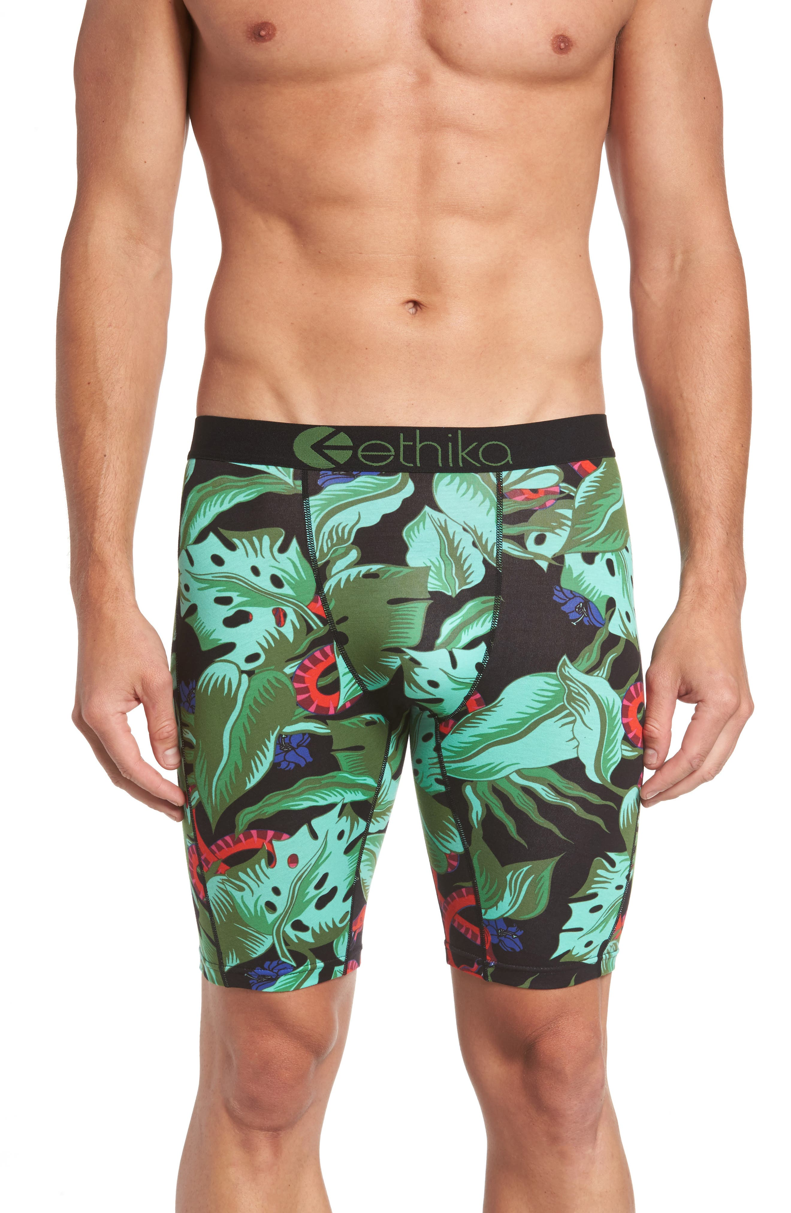 Ethika Jungle Snake Stretch Cotton Boxer Briefs