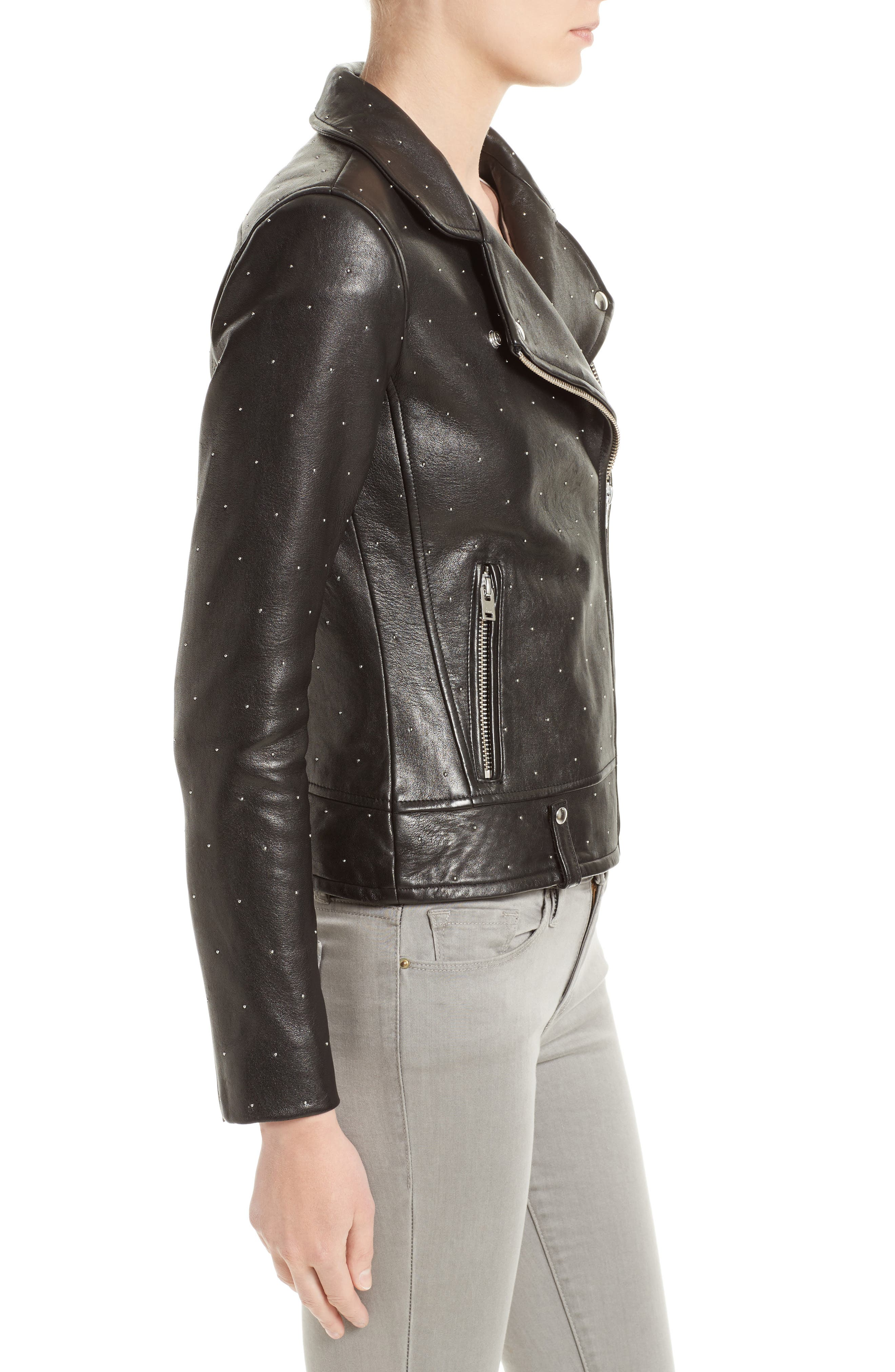 Alternate Image 3  - IRO Vamy Studded Leather Moto Jacket