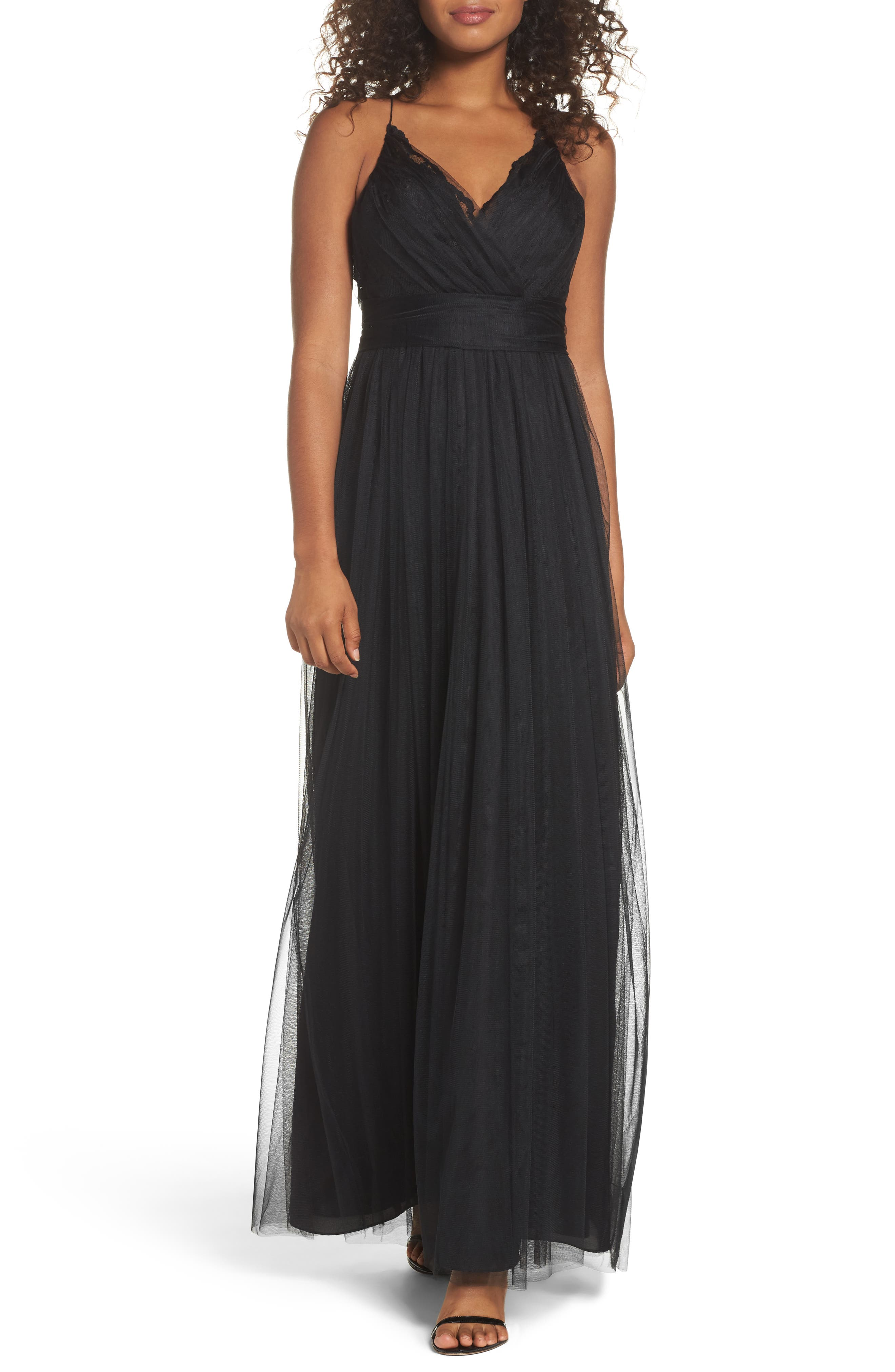 Aria Lace & Tulle Gown,                             Main thumbnail 1, color,                             Black