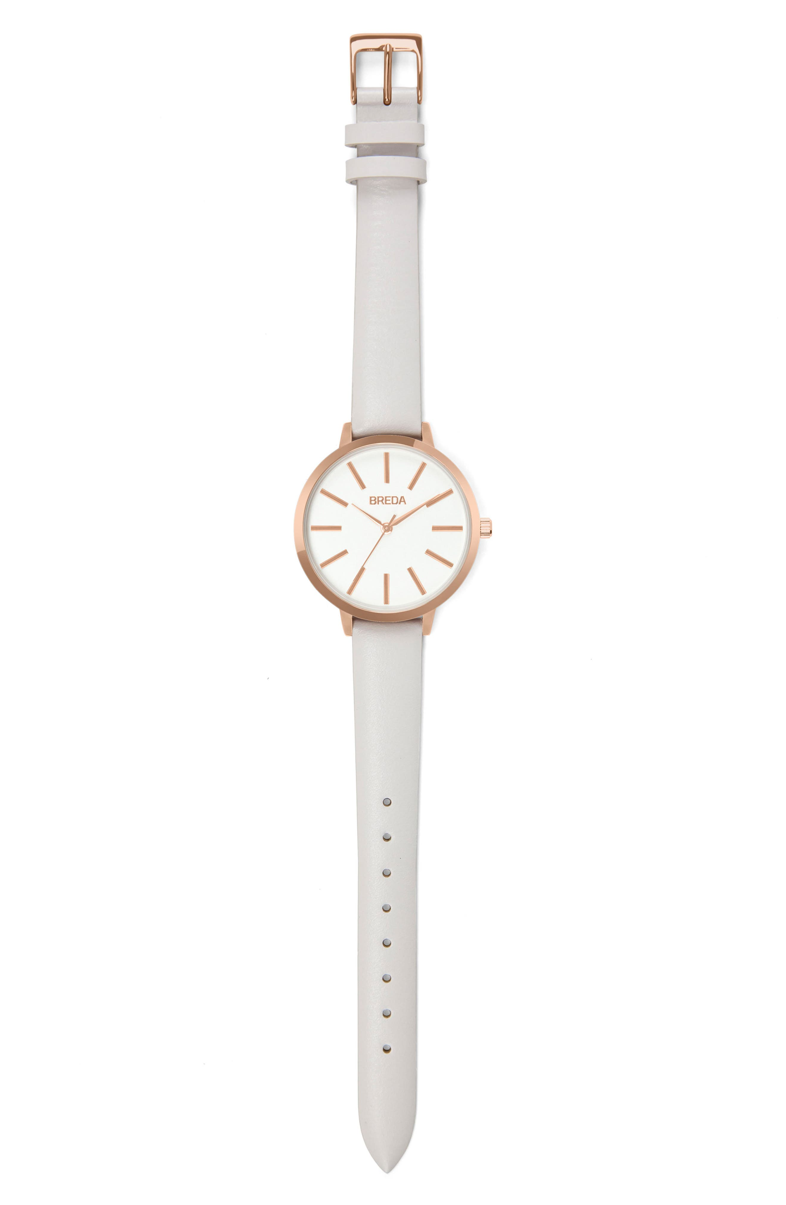 Joule Round Leather Strap Watch, 37mm,                             Alternate thumbnail 3, color,                             Blush/ White/ Rose Gold