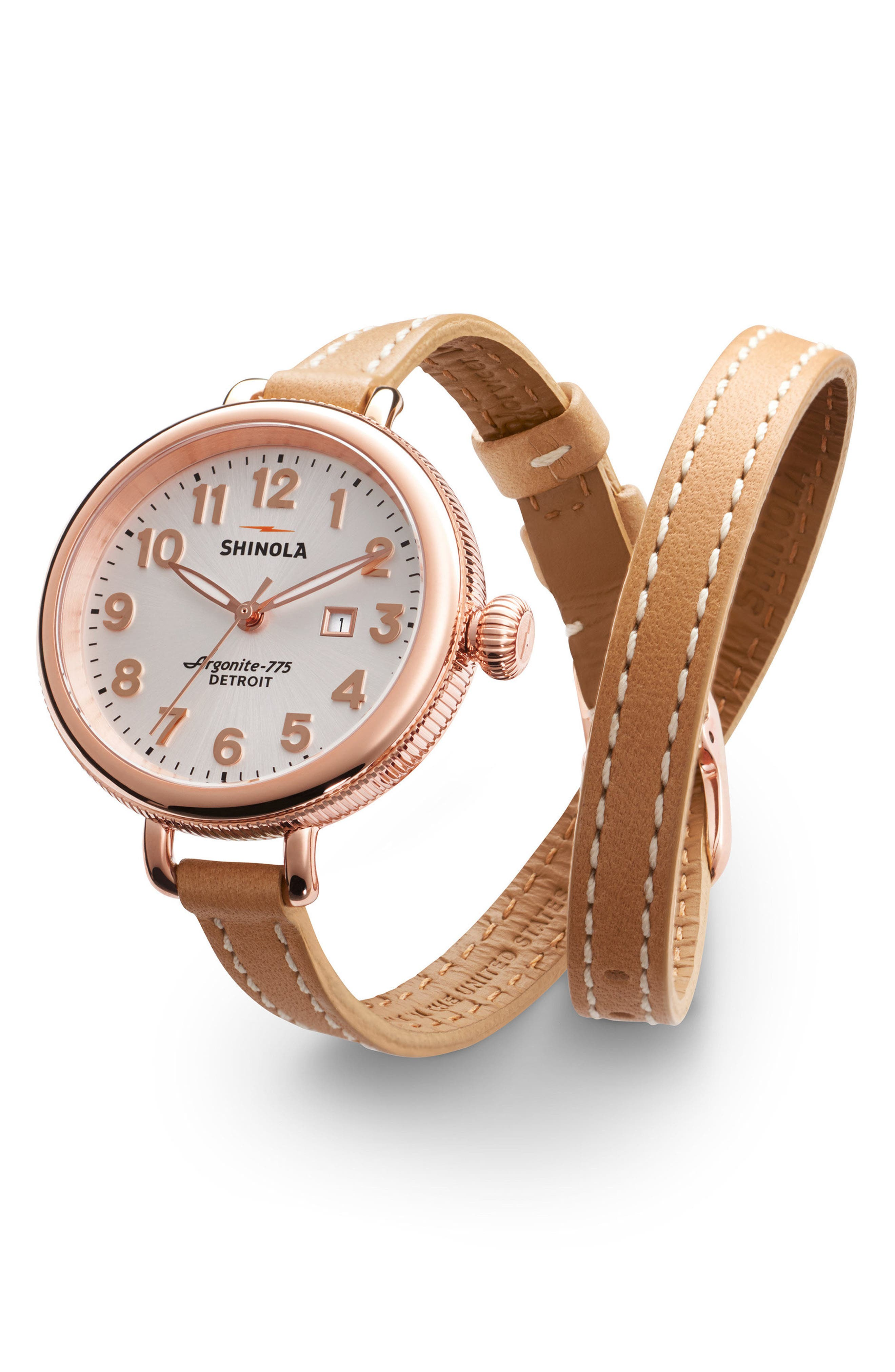 The Birdy Leather Strap Watch, 34mm,                             Alternate thumbnail 3, color,                             Natural/ Silver/ Rose Gold