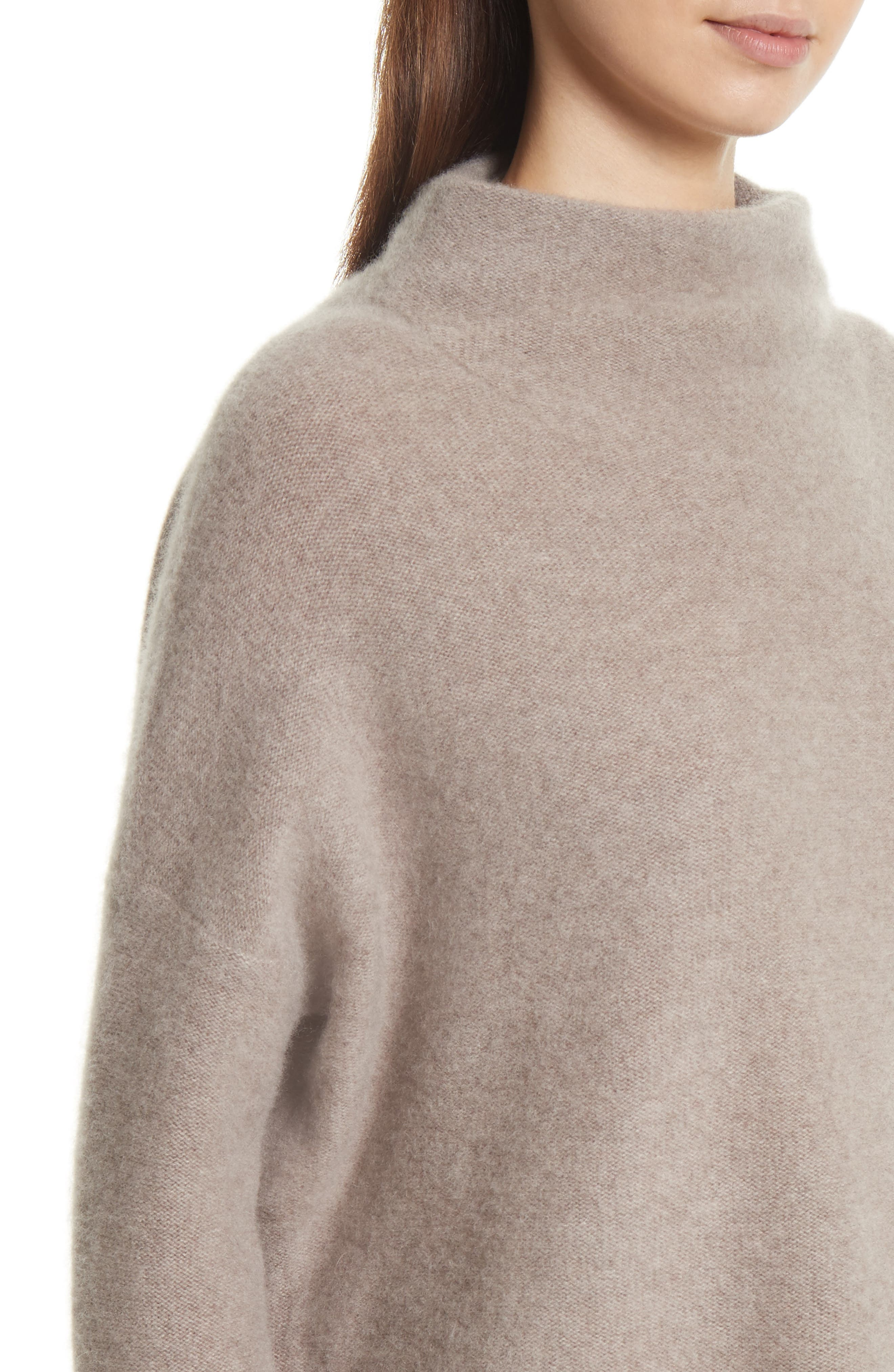 Cashmere Funnel Neck Pullover,                             Alternate thumbnail 5, color,                             Taupe