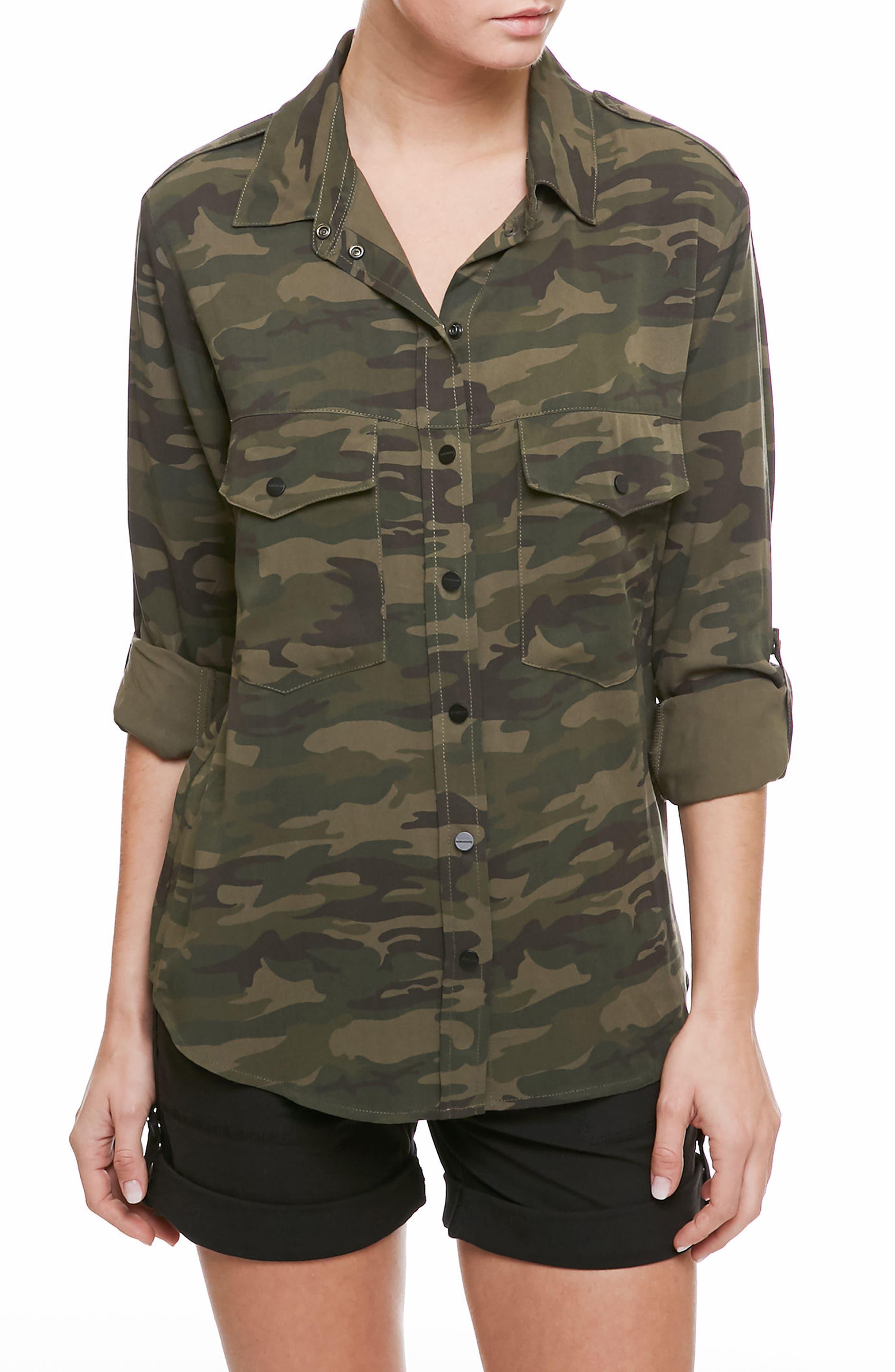 Camo Print Boyfriend Shirt,                         Main,                         color, Camp Camo
