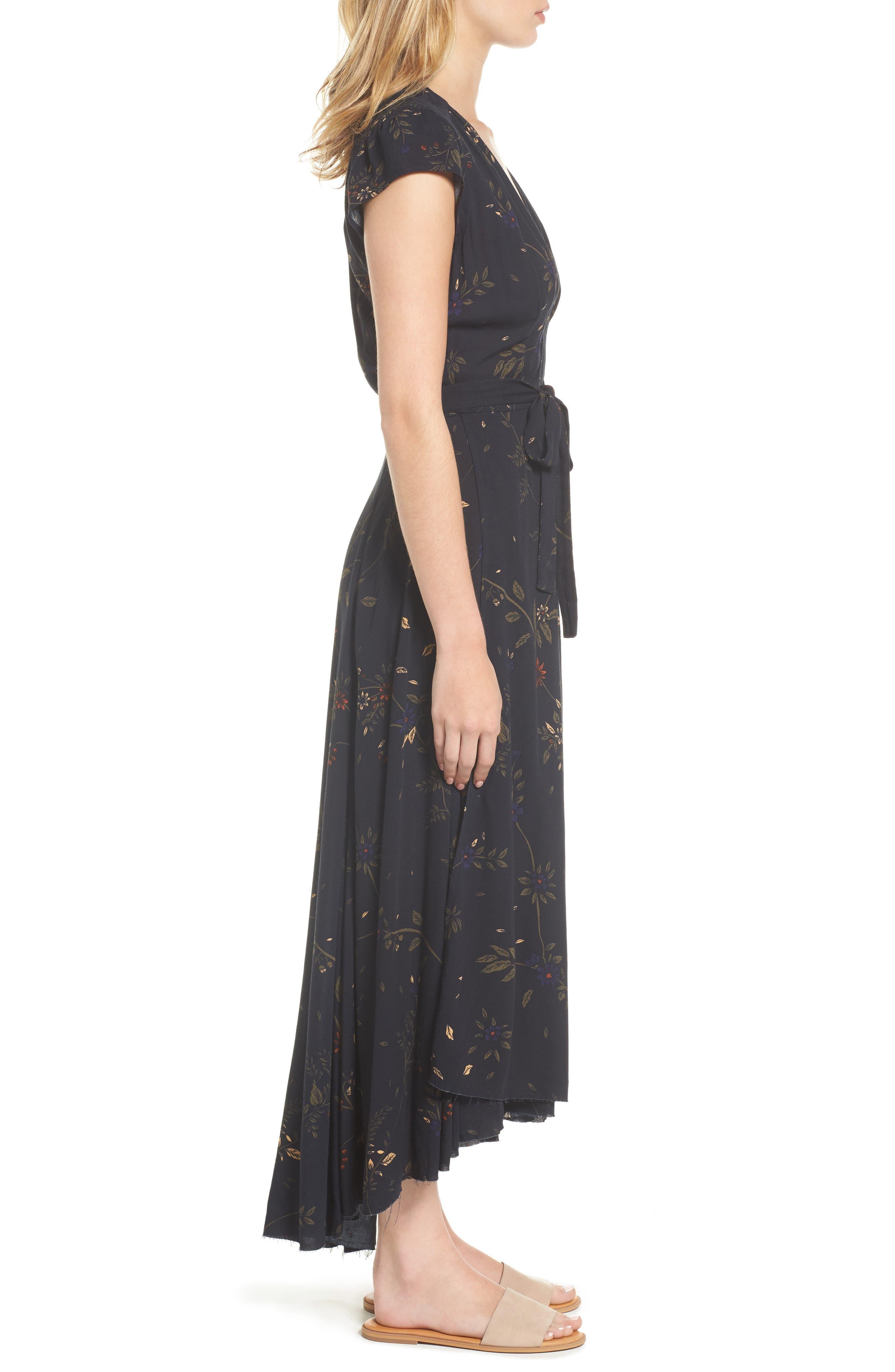 Daphne Wrap Maxi Dress,                             Alternate thumbnail 3, color,                             True Black Multi