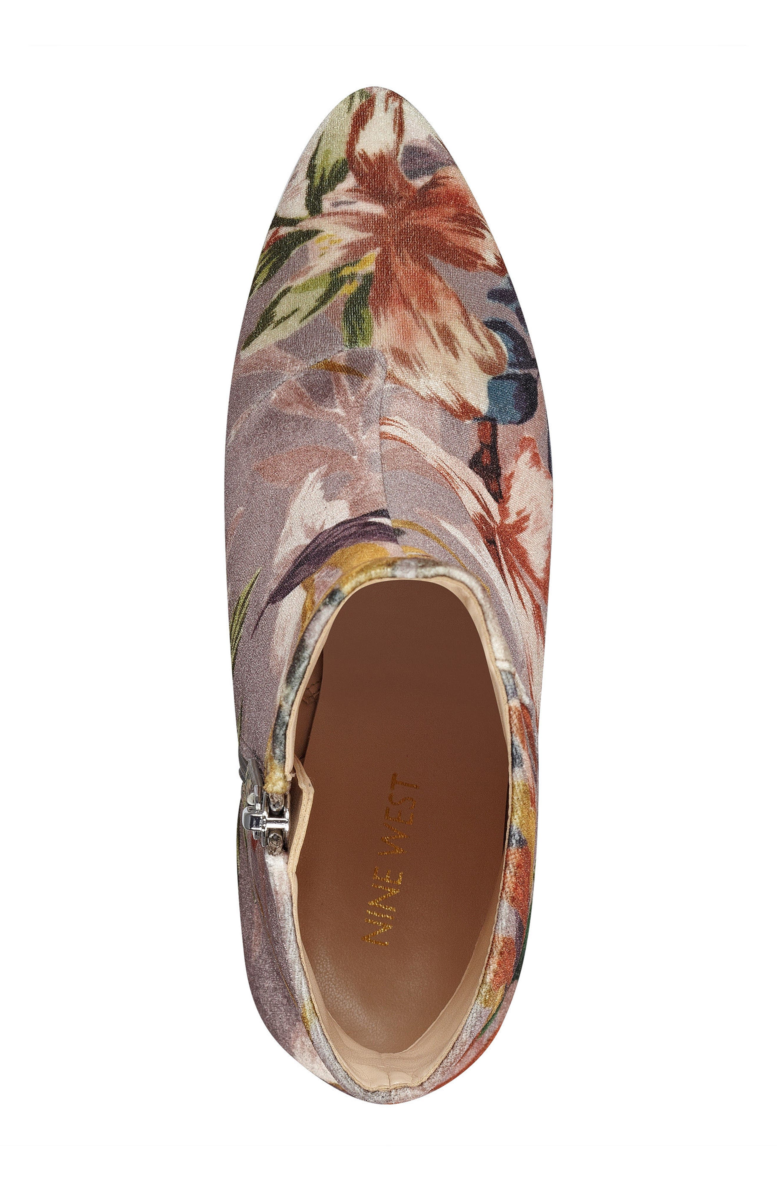 Savitra Pointy Toe Bootie,                             Alternate thumbnail 5, color,                             Taupe Multi Fabric