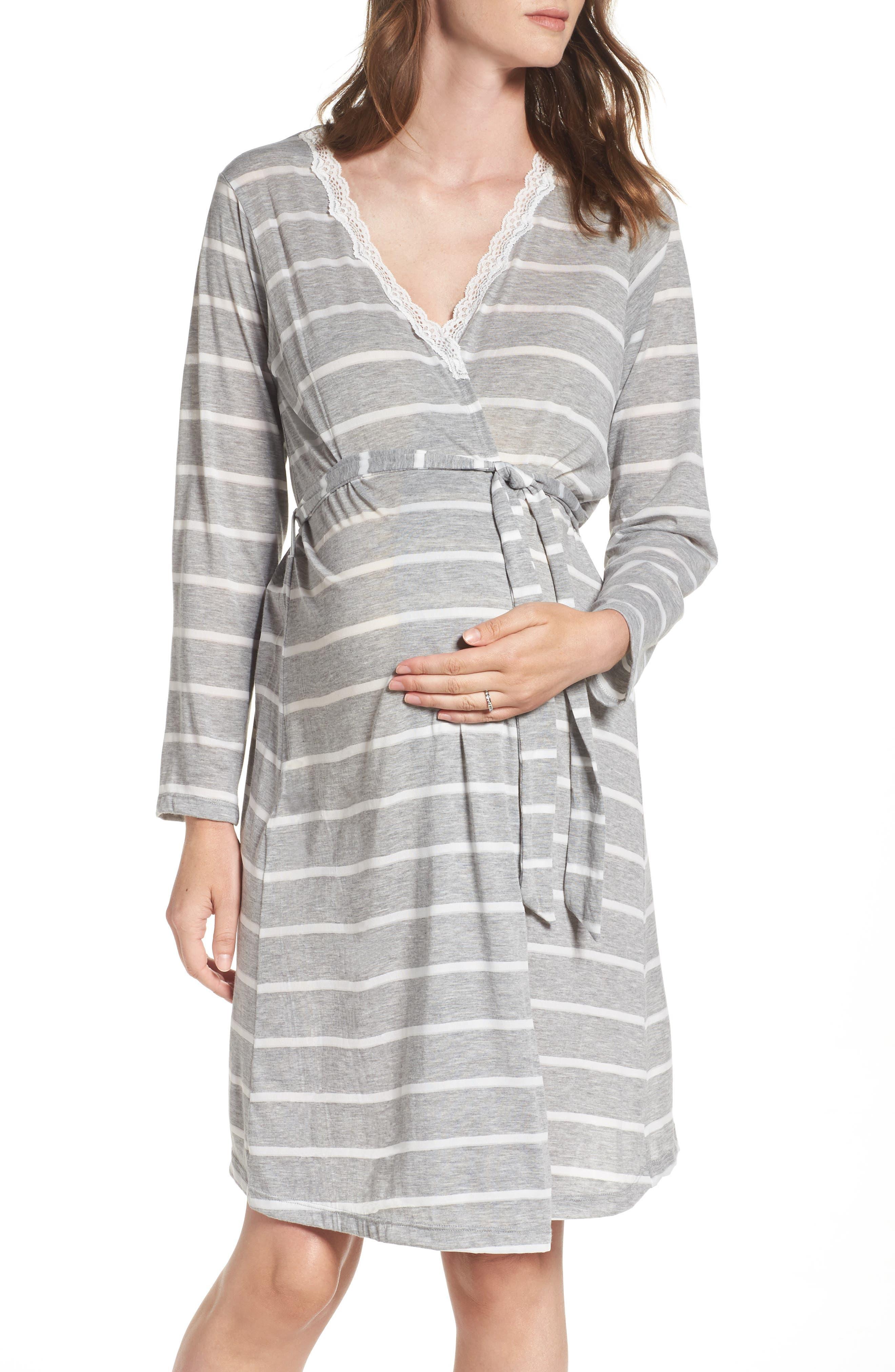 Heather Maternity Robe,                         Main,                         color, Grey Stripe