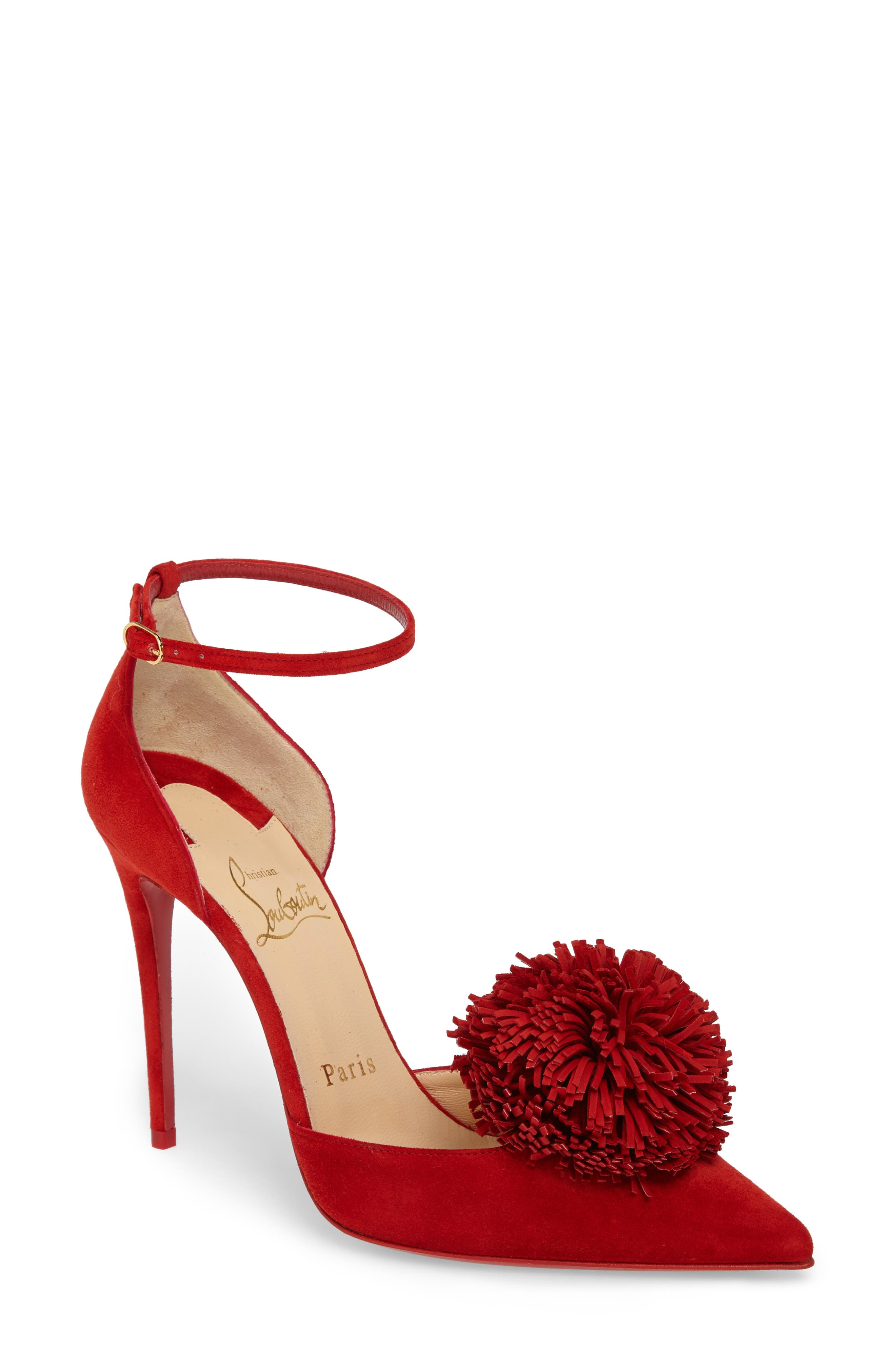 Tsarou Pom Ankle Strap Pump,                         Main,                         color, Red Suede