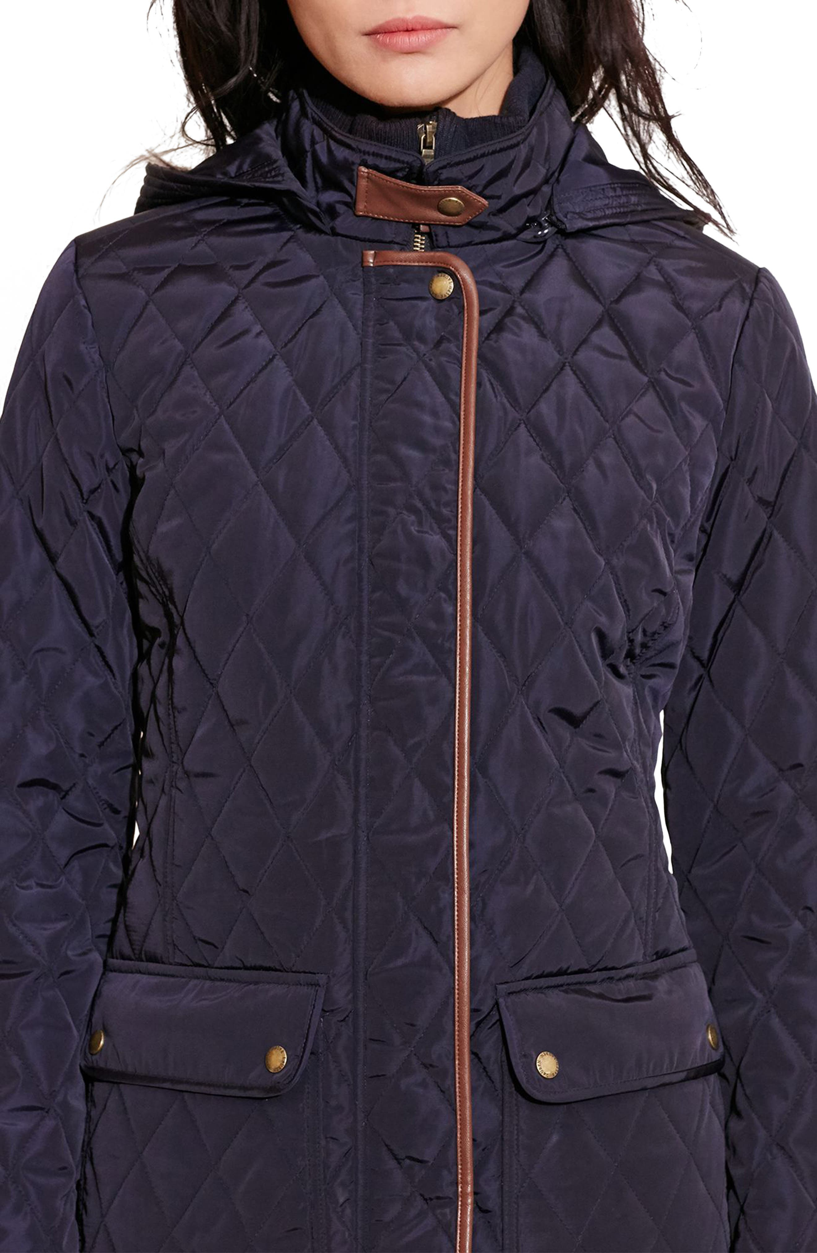 Diamond Quilted Coat with Faux Leather Trim,                             Alternate thumbnail 5, color,                             Dark Navy
