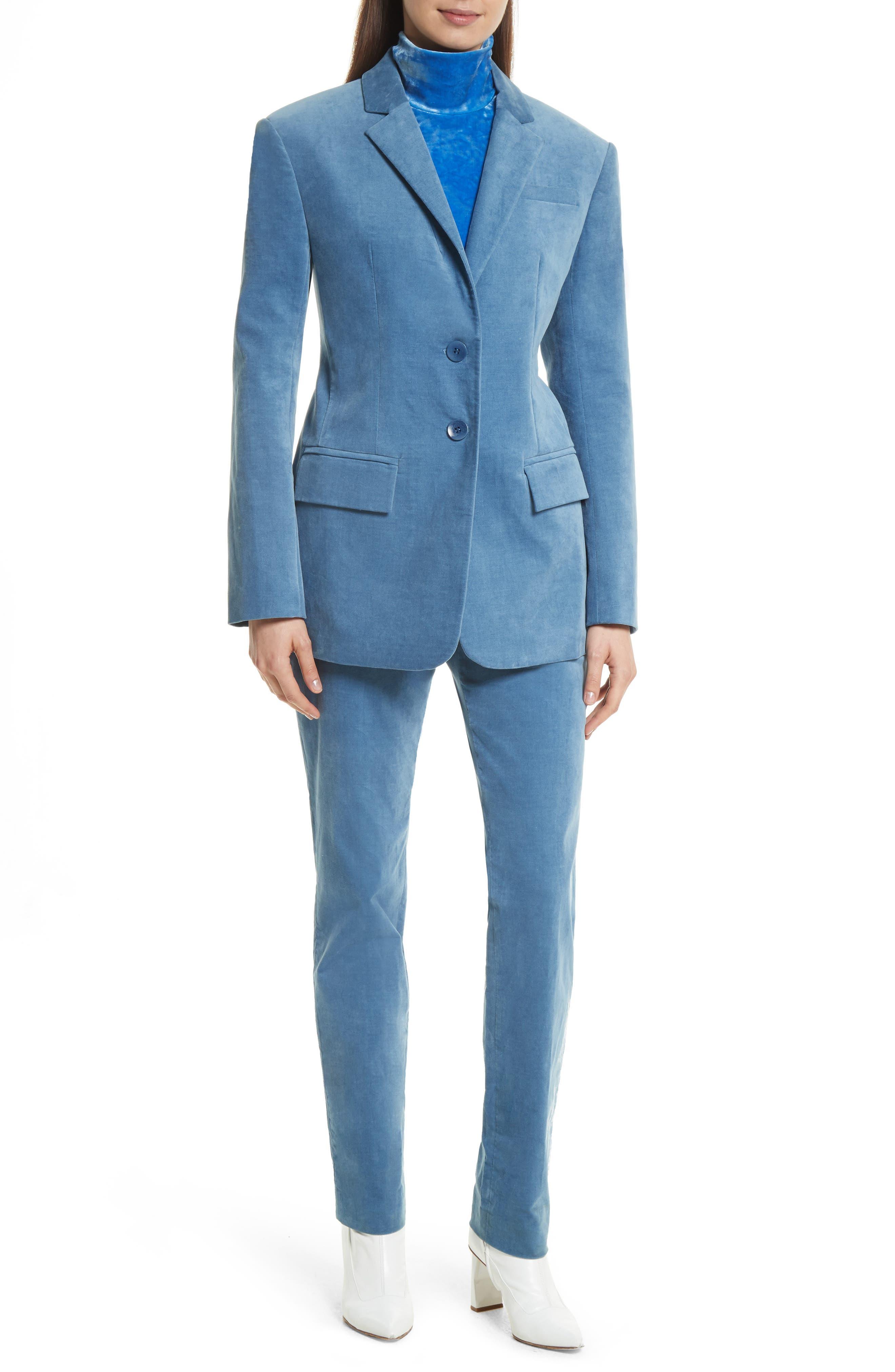 Moleskin Stretch Cotton Skinny Pants,                             Alternate thumbnail 2, color,                             Blue