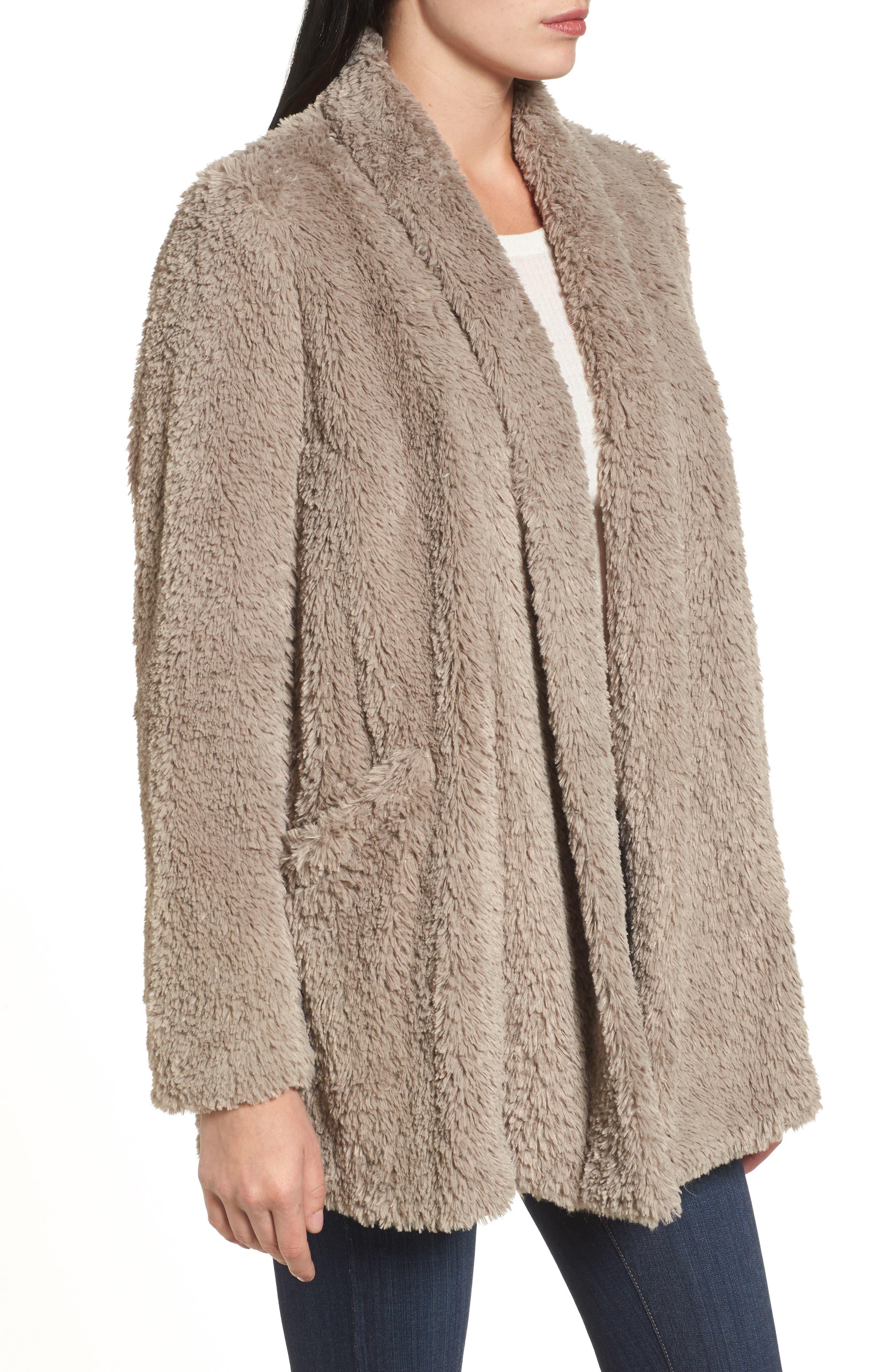 'Teddy Bear' Faux Fur Clutch Coat,                             Alternate thumbnail 3, color,                             Natural